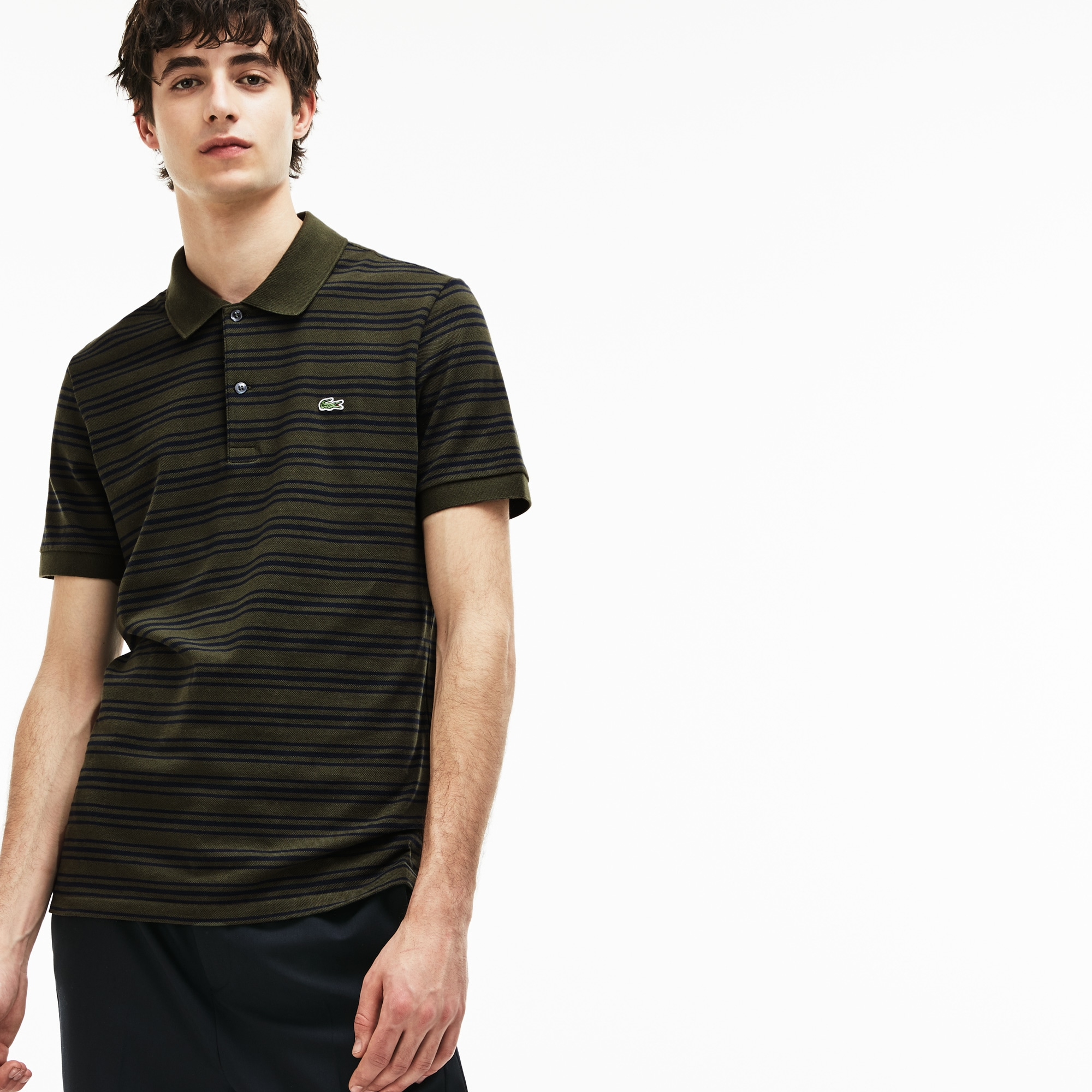 Men's Lacoste Regular Fit Striped Cotton Petit Piqué Polo Shirt