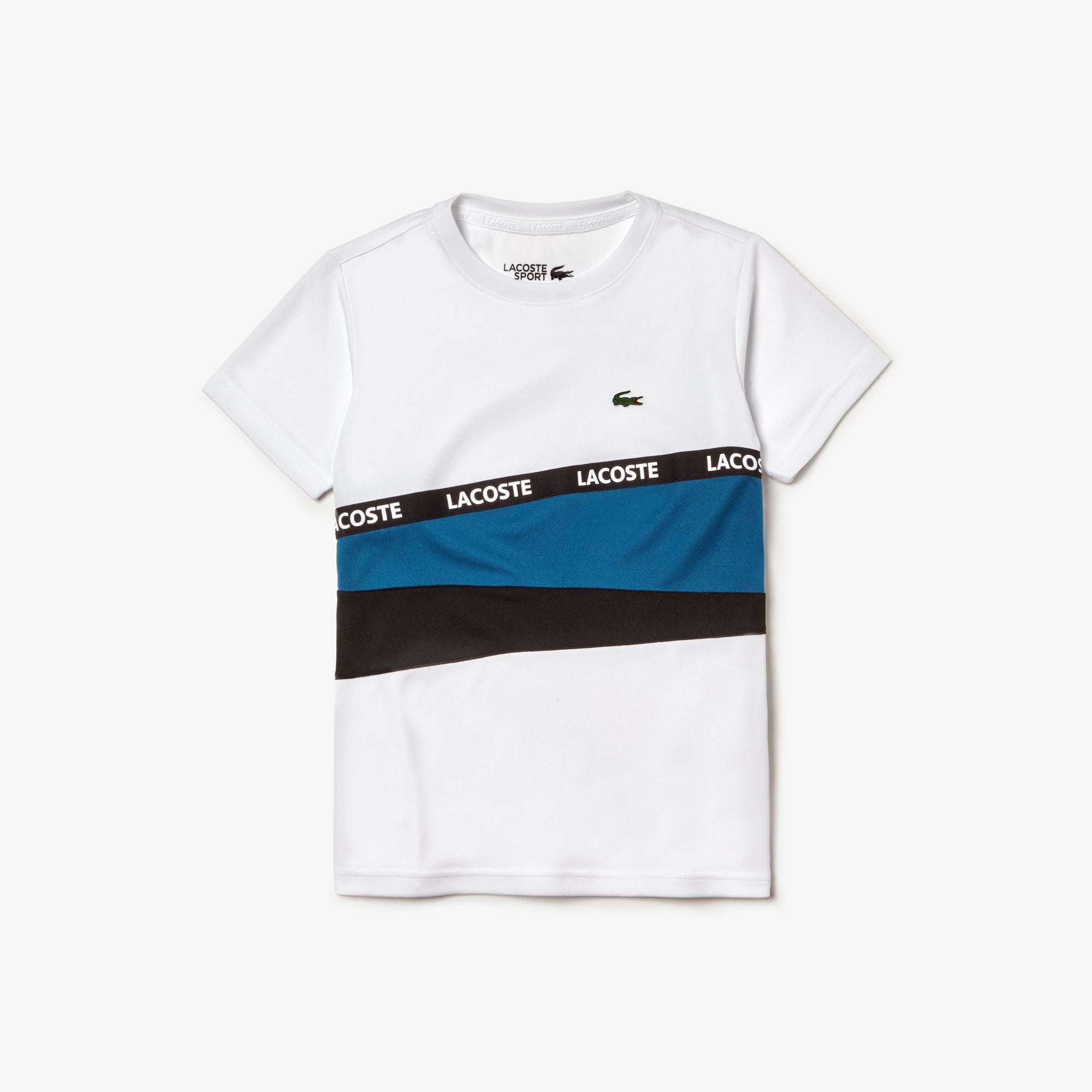 3ba7f873bac Boys' Lacoste SPORT Signature Band Colourblock Piqué T-shirt