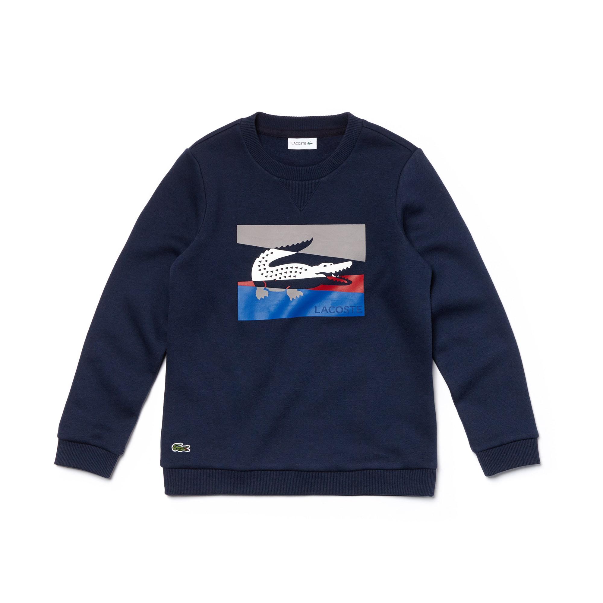 Boys' Crew Neck Colorblock Lettering Fleece Sweatshirt