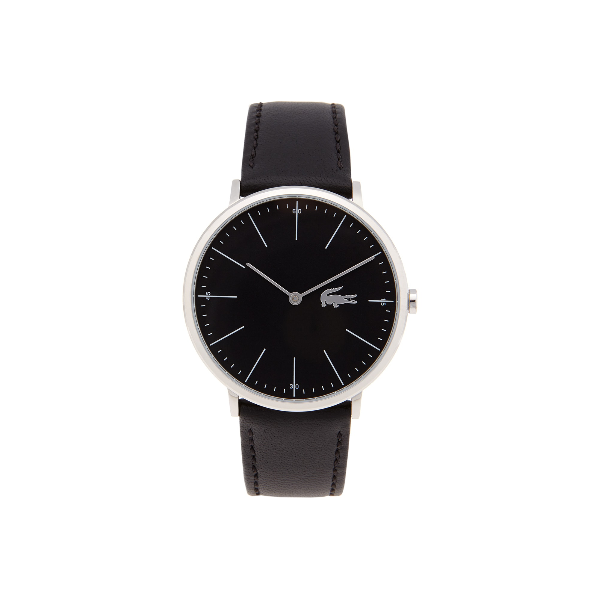 Lacoste Moon Watch Extra-slim black dial black leather strap