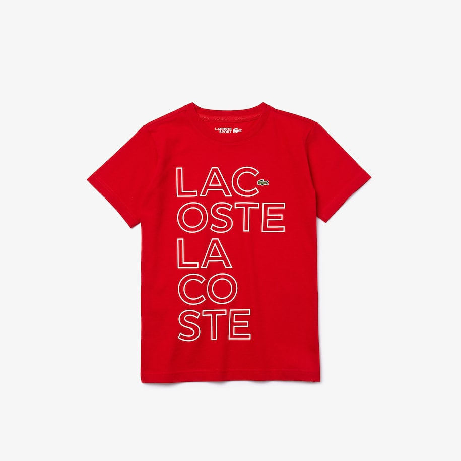 Boys' Lacoste SPORT Printed Breathable Cotton T-shirt