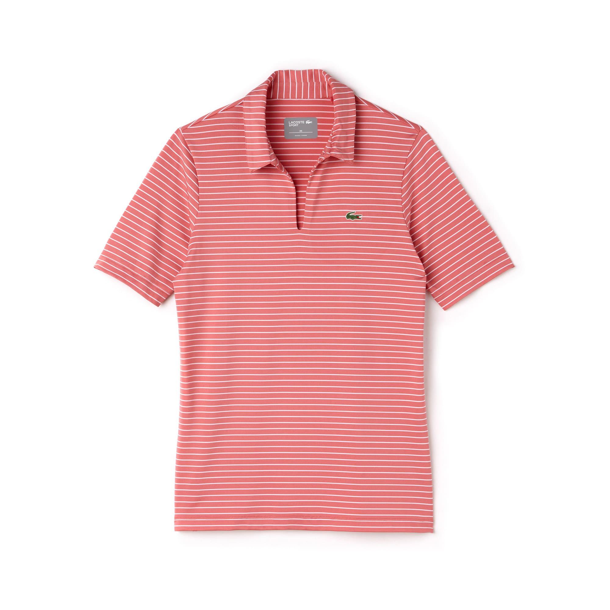 Women's Lacoste SPORT Teardrop Neck Striped Jersey Golf Polo Shirt