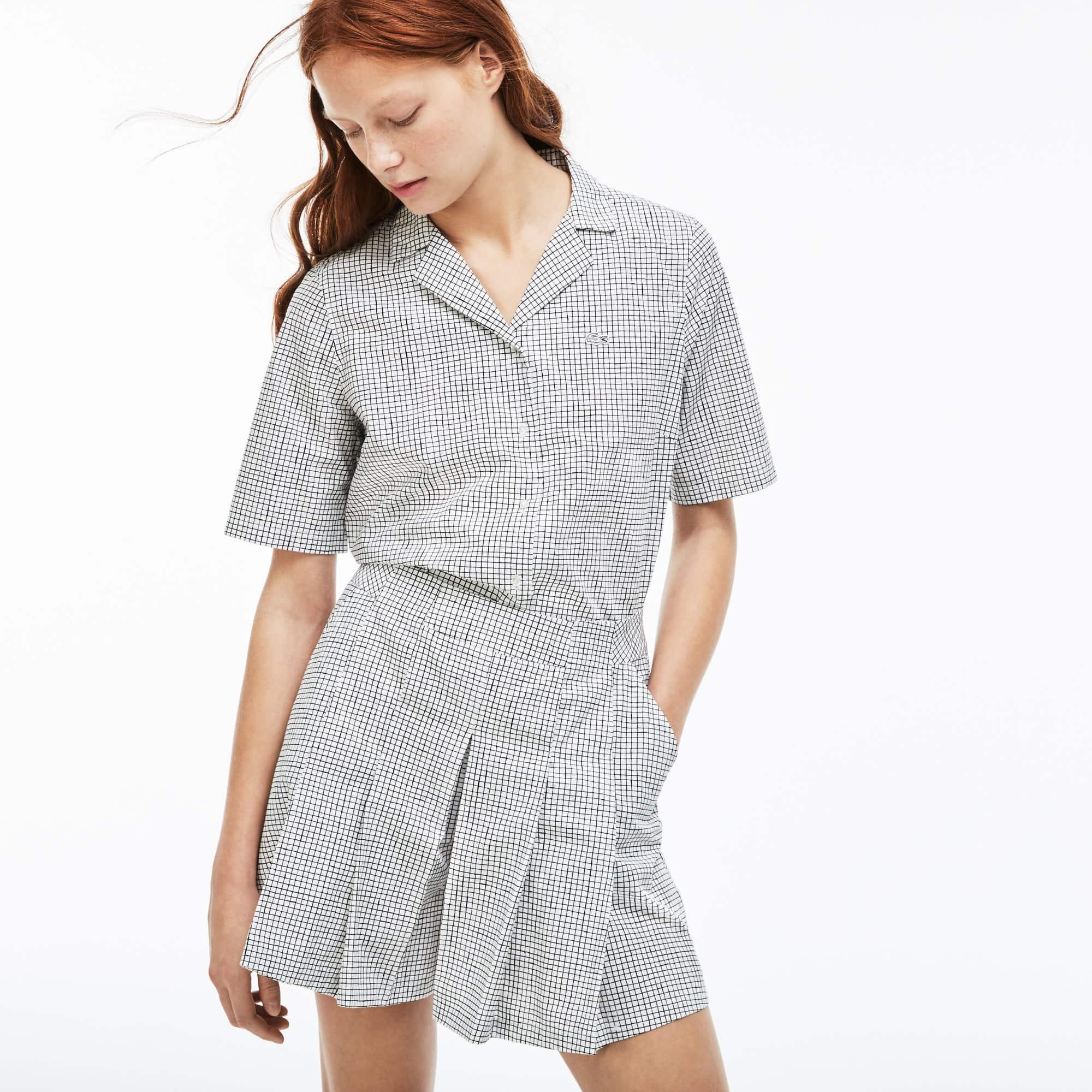 Women's Lacoste LIVE Small Check Cotton Poplin Pleated Shorts