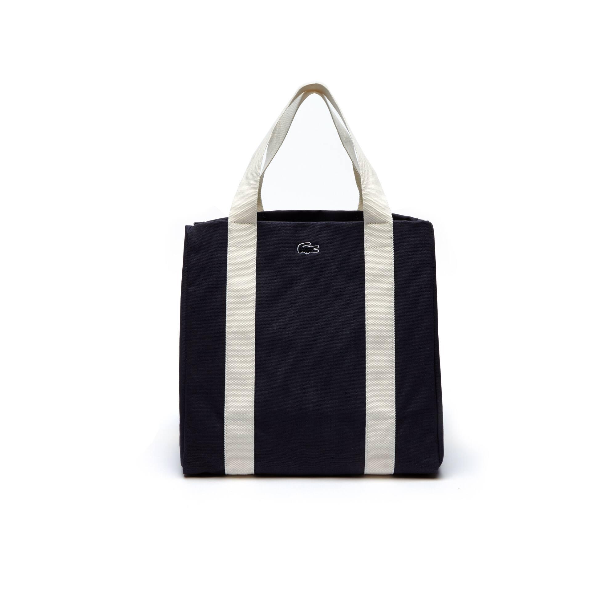 Women's Summer Colorblock Cotton Large Expandable Tote Bag