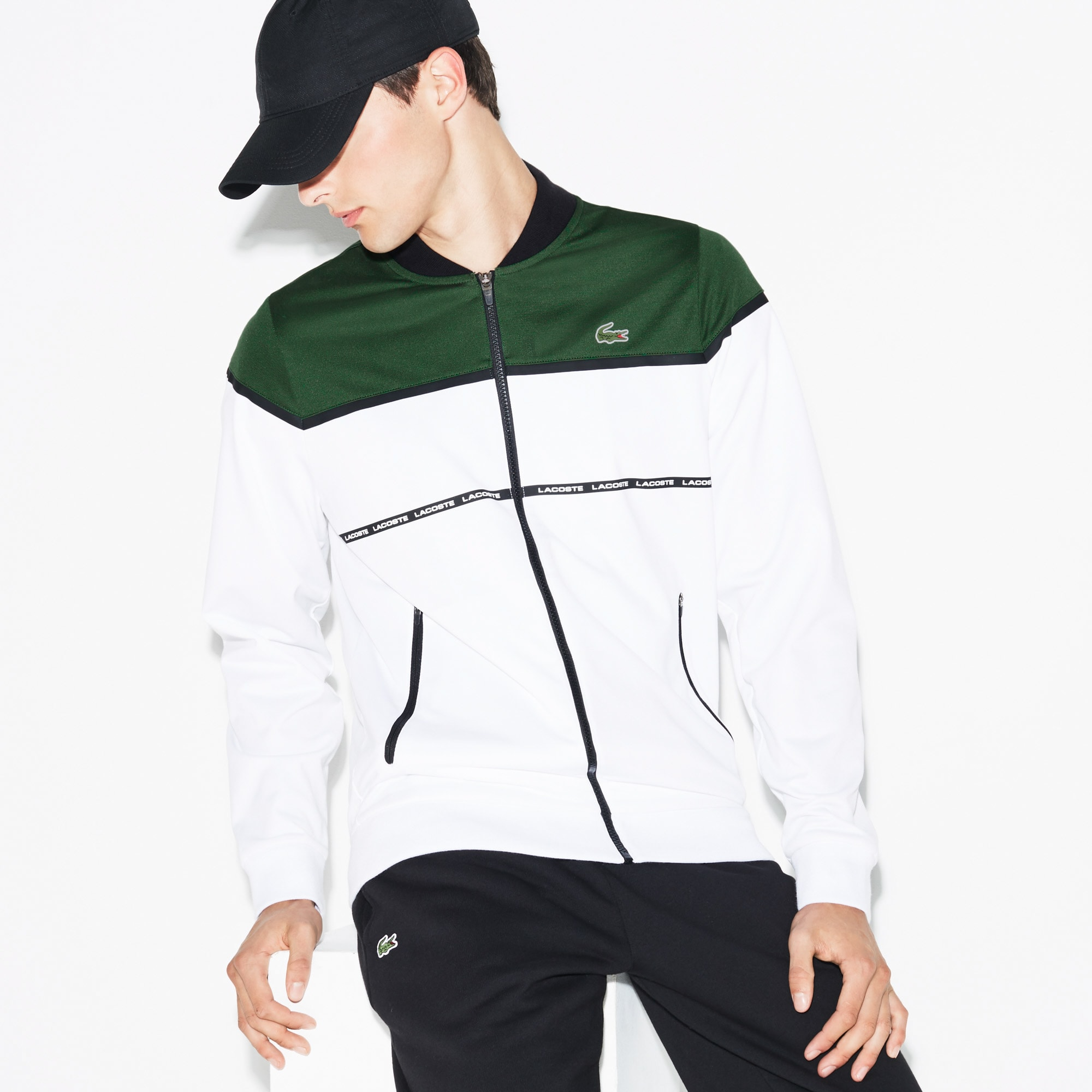Men's Lacoste SPORT Tennis Colorblock Tech Piqué Zippered Jacket