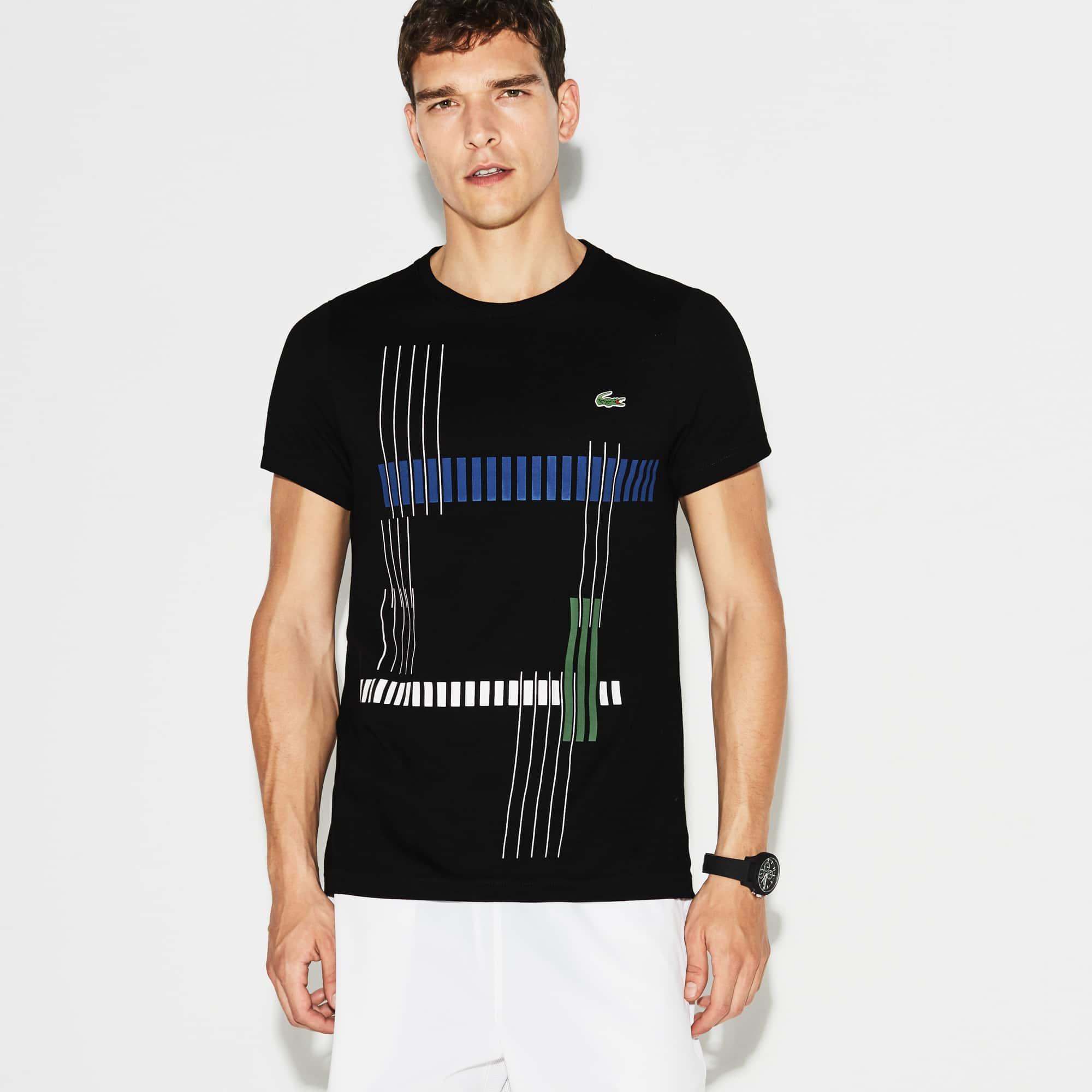 Men's Lacoste SPORT Tennis Striped Design Tech Jersey T-shirt