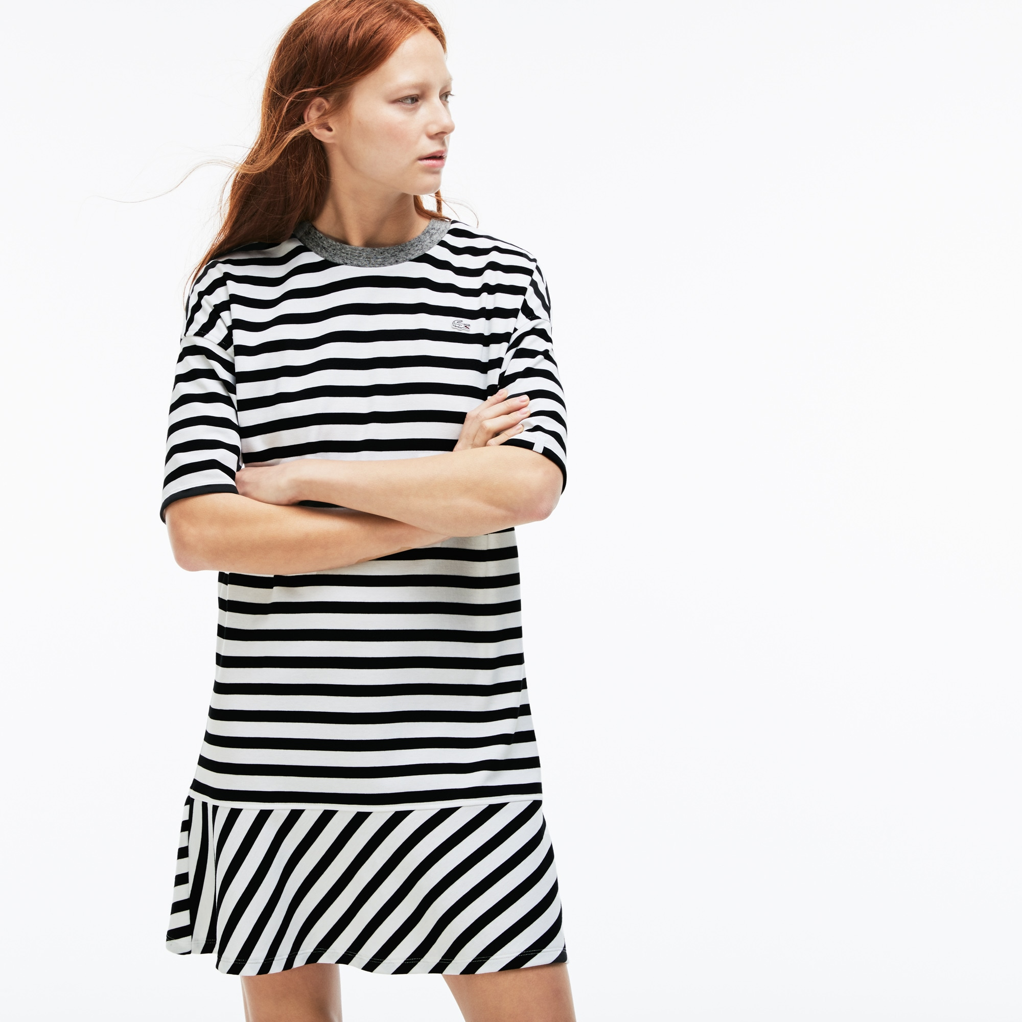Women's Lacoste LIVE Contrast Finishes Jersey Nautical Dress
