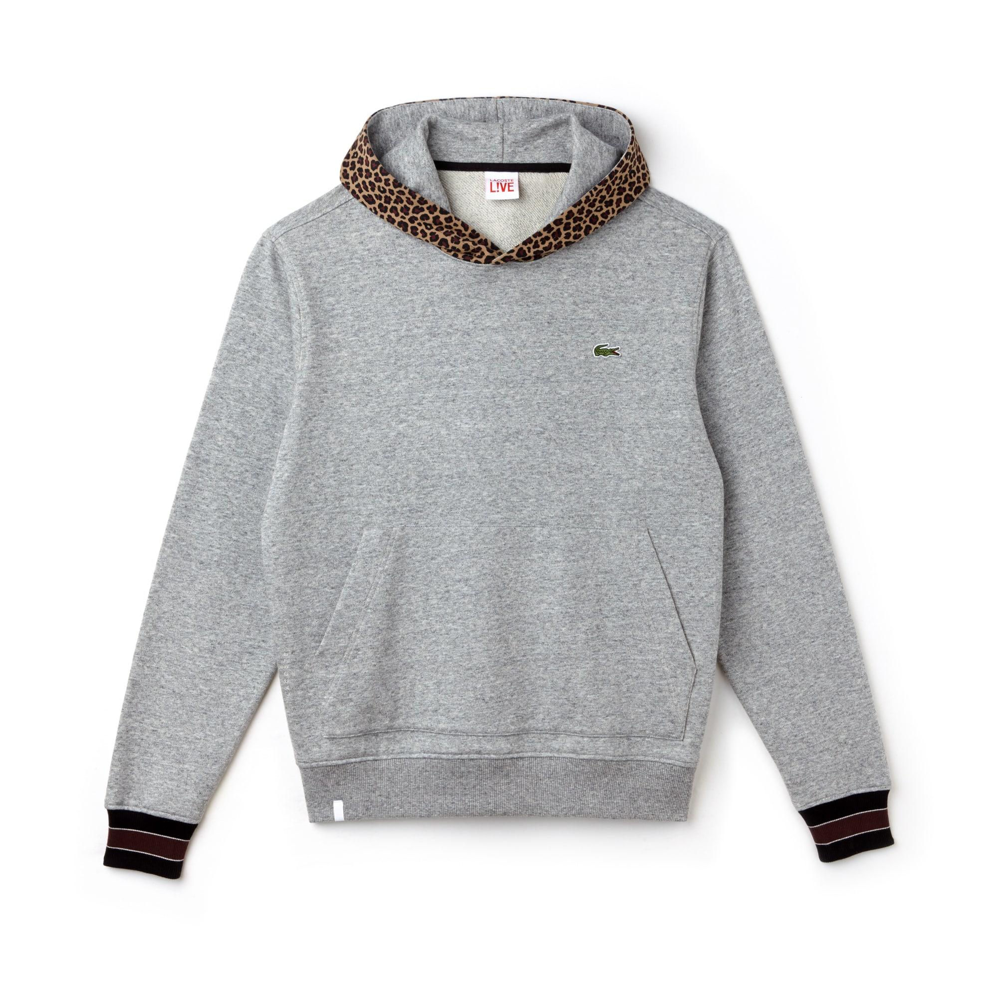 Men's Lacoste LIVE Leopard Print Hood Fleece Sweatshirt