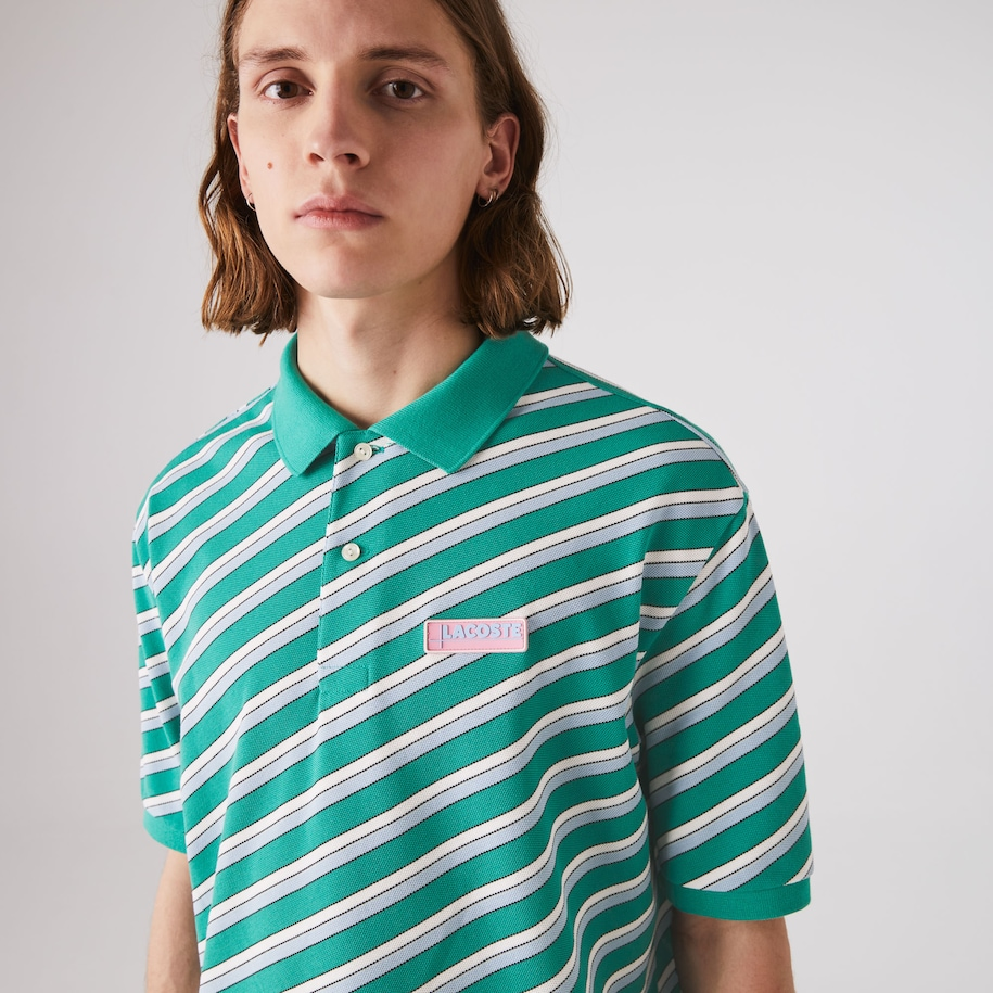 Men's Lacoste LIVE Loose Fit Striped Cotton Piqué Polo Shirt