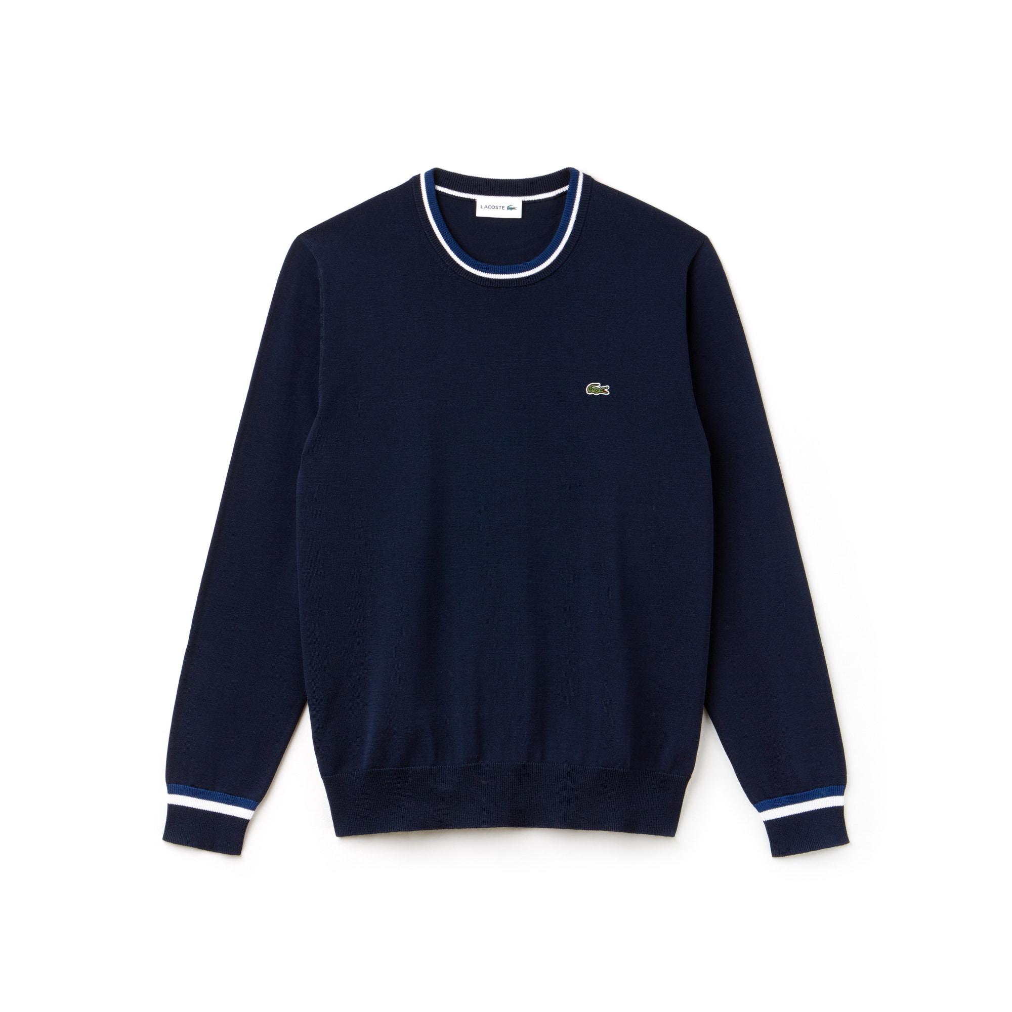 Men's Crew Neck Contrast Accents Pima Cotton Jersey Sweater
