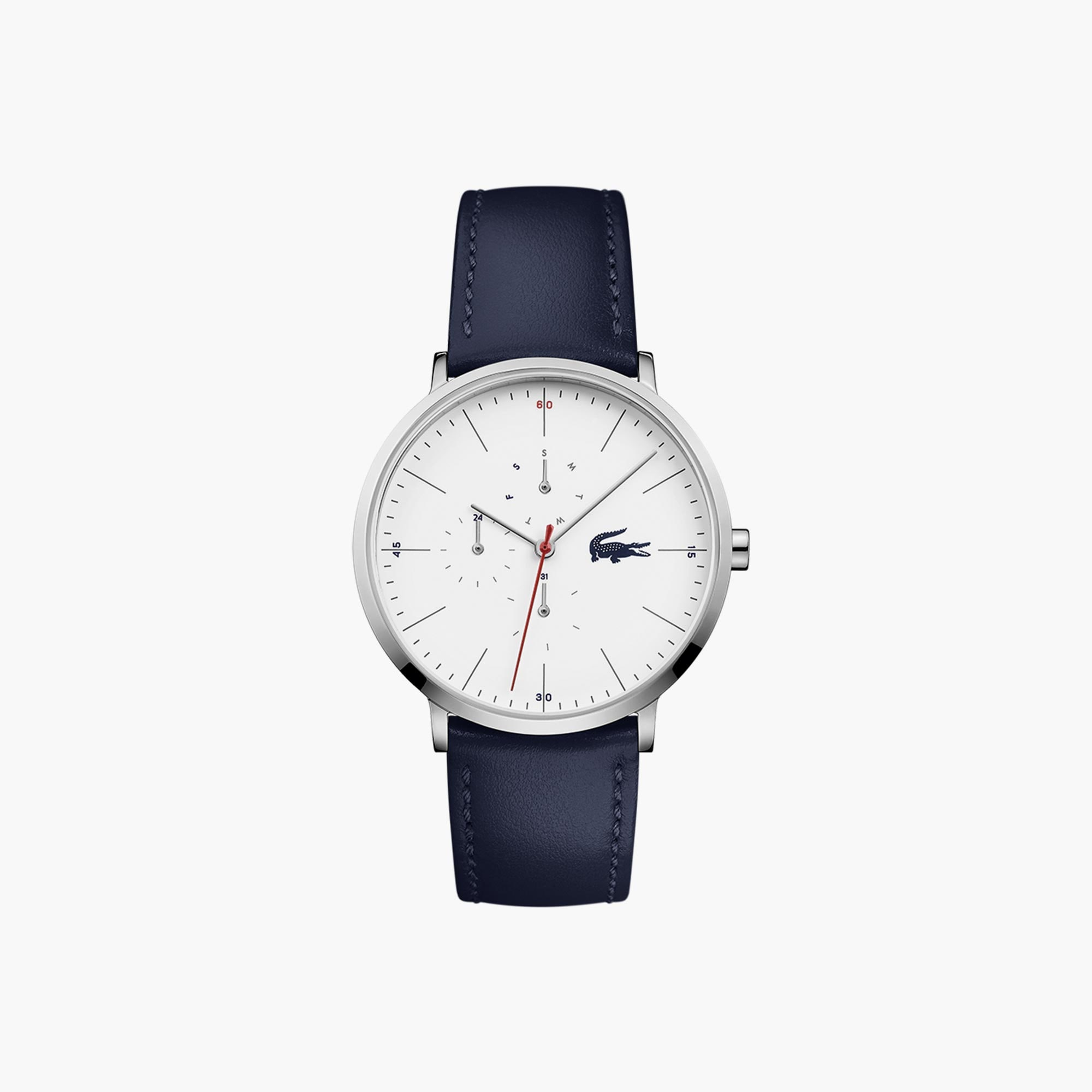 Men's Moon Multifunctions Ultra Slim Watch with Blue Leather...