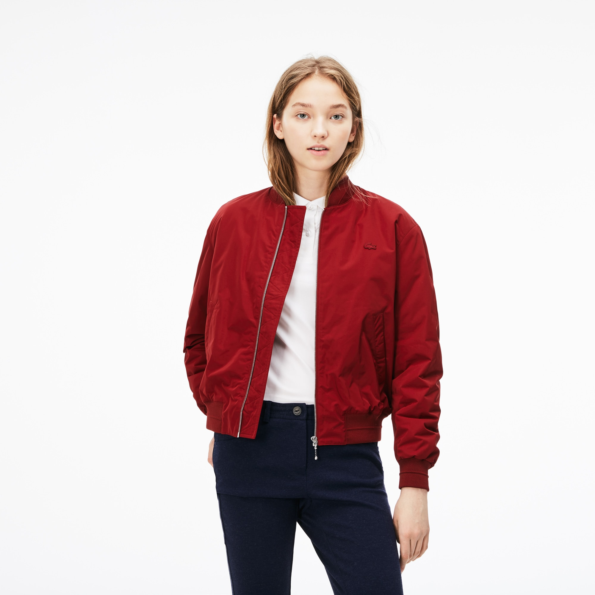 24115a26c6 Women's Contrast Bands Quilted Water-Resistant Taffeta Bomber ...