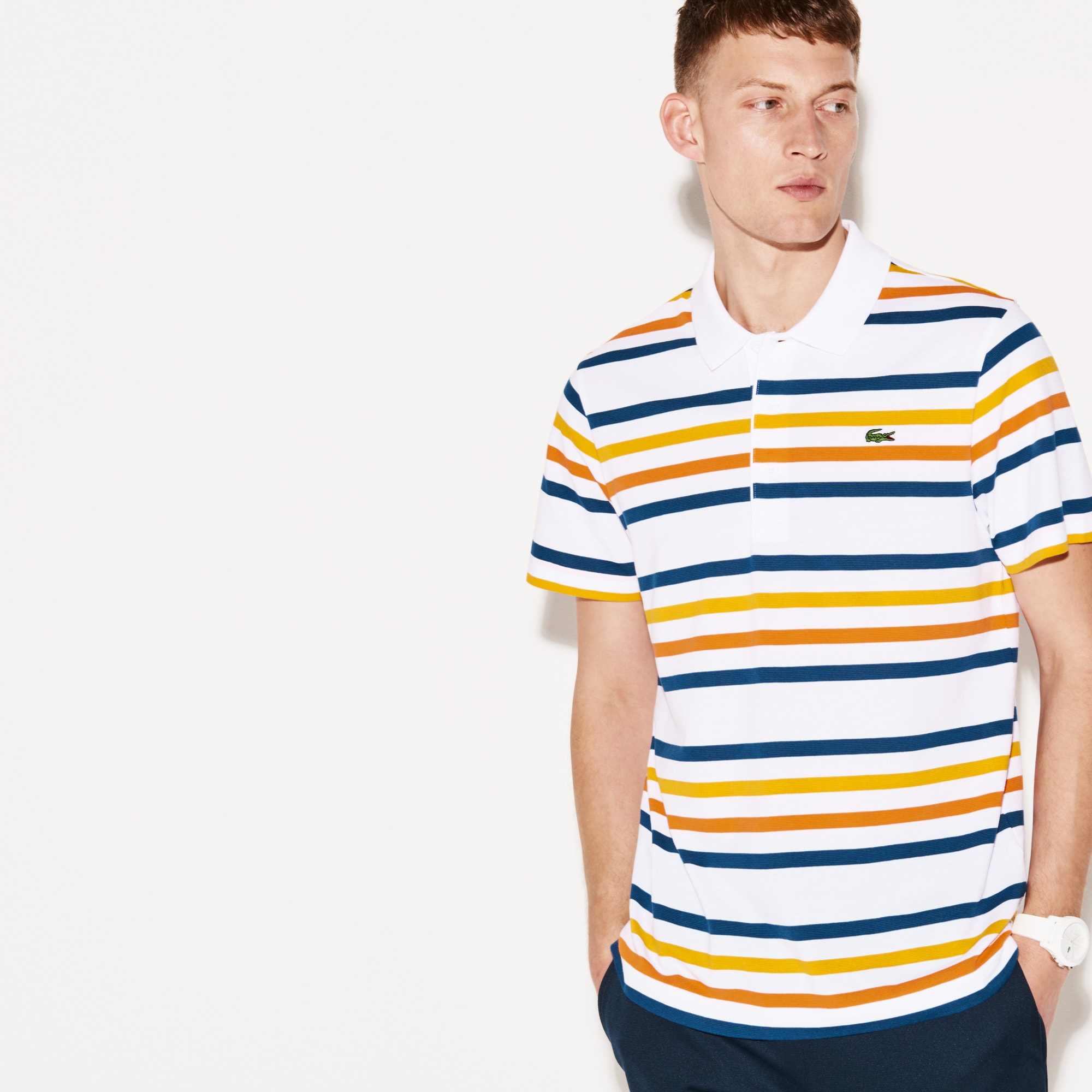 Men's Lacoste SPORT Striped Ultra-Light Cotton Tennis Polo Shirt
