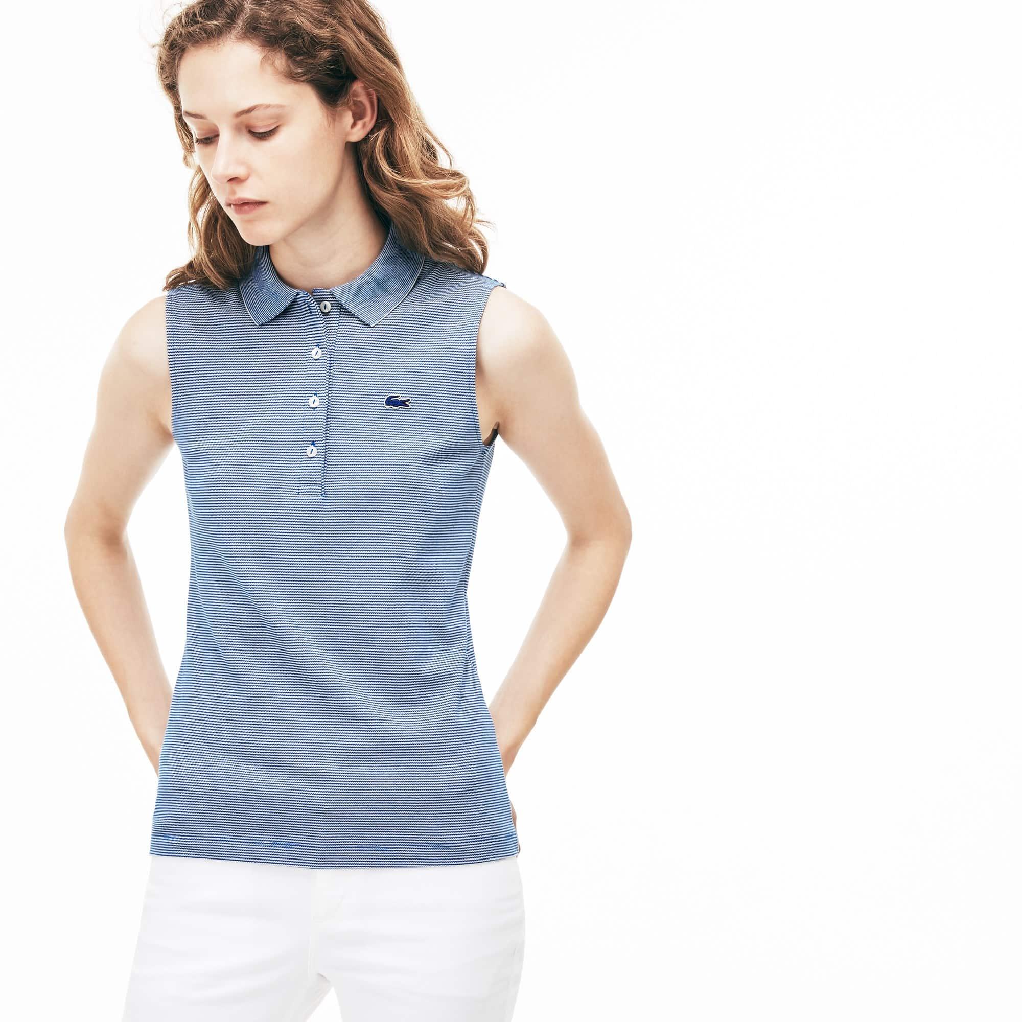 Women's Lacoste Slim Fit Pinstriped Stretch Mini Piqué Polo Shirt