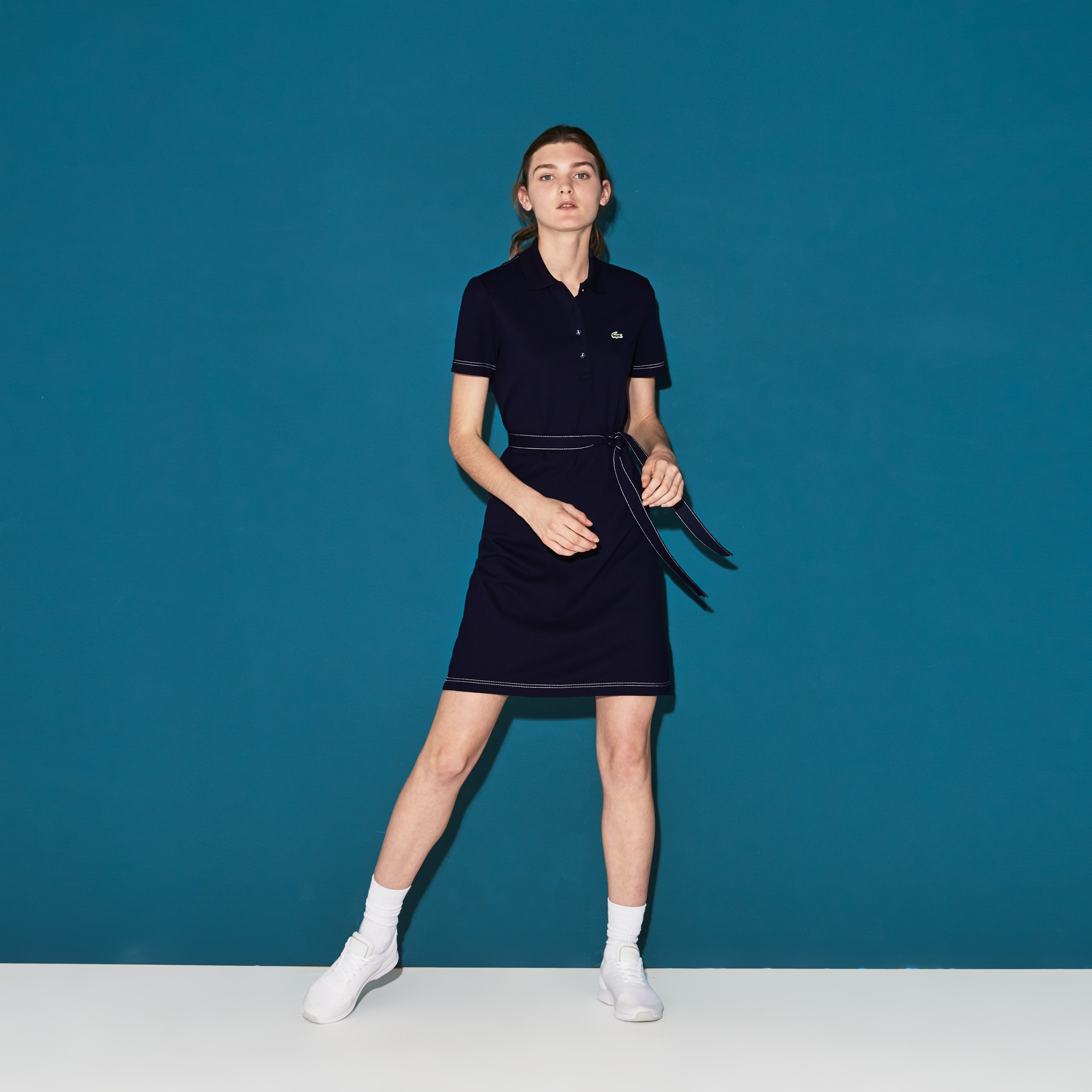 Women's Lacoste SPORT Belted Technical Mini Piqué Golf Polo Dress
