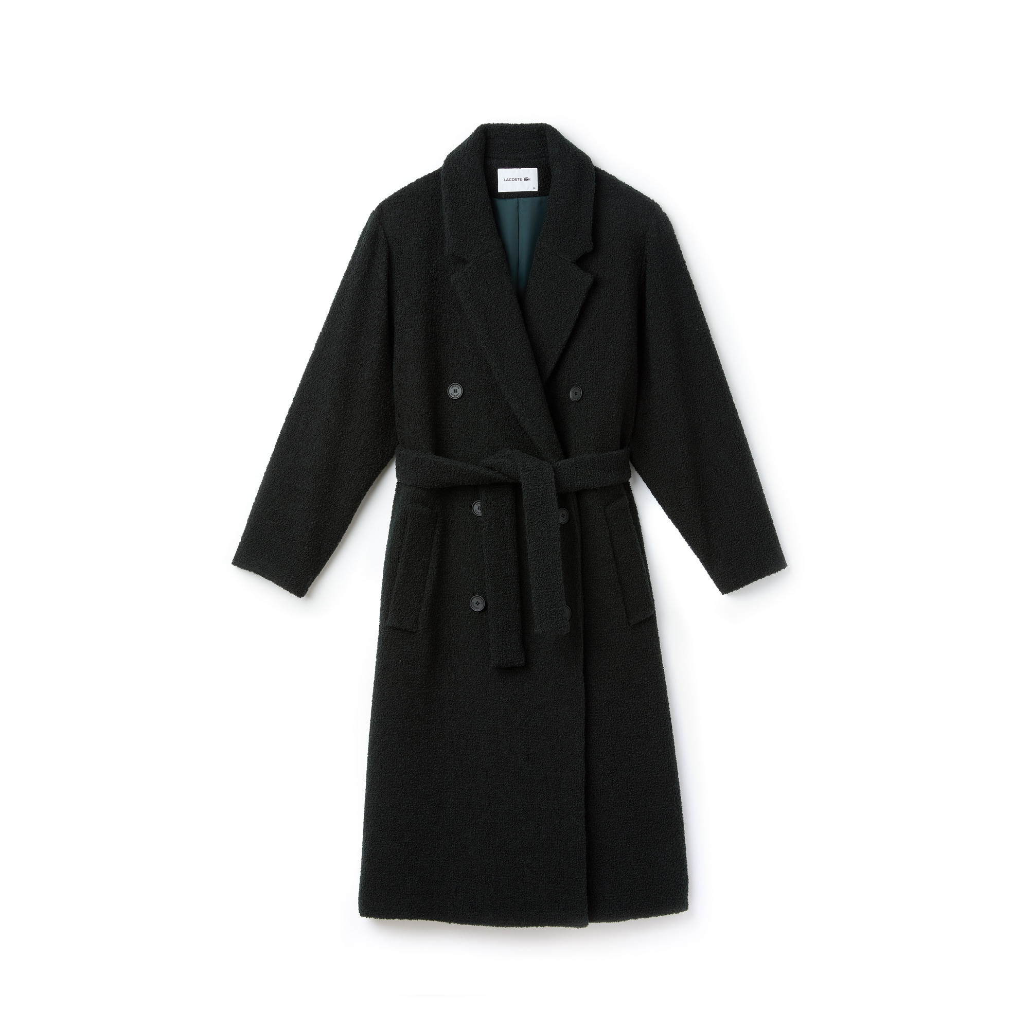 Women's Double-Breasted Belted Wool Bouclé Trench Coat