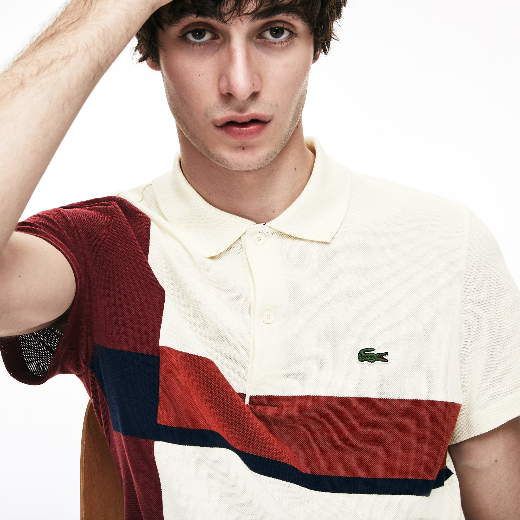 Men's Lacoste Slim Fit Colourblock Cotton Petit Piqué Polo Shirt