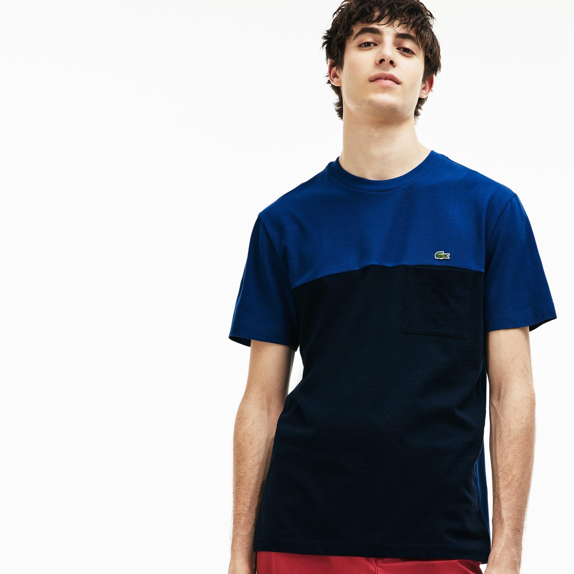 Men's Crew Neck Colorblock Mini Piqué Jersey T-shirt