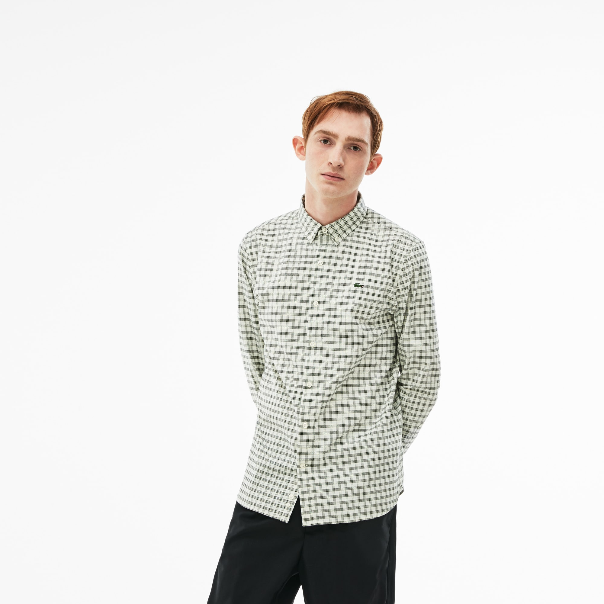Men's Lacoste LIVE Slim Fit Check Cotton Oxford Shirt