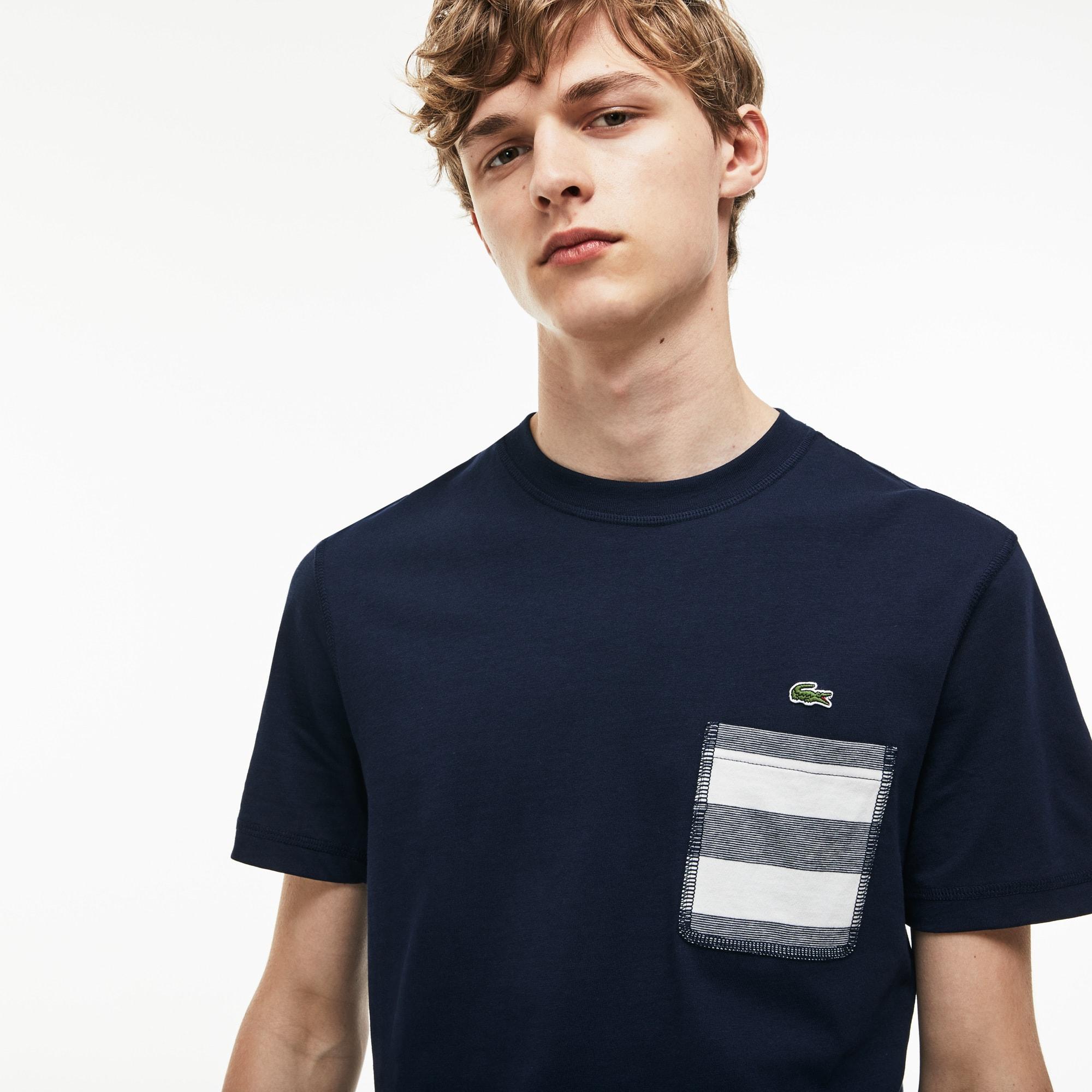 Men's Crew Neck Striped Pocket Cotton Jersey T-shirt