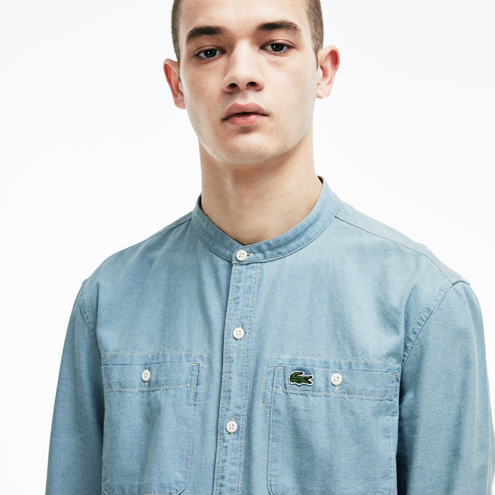Men's Lacoste LIVE Skinny Fit Mao Collar Chambray Cotton Shirt