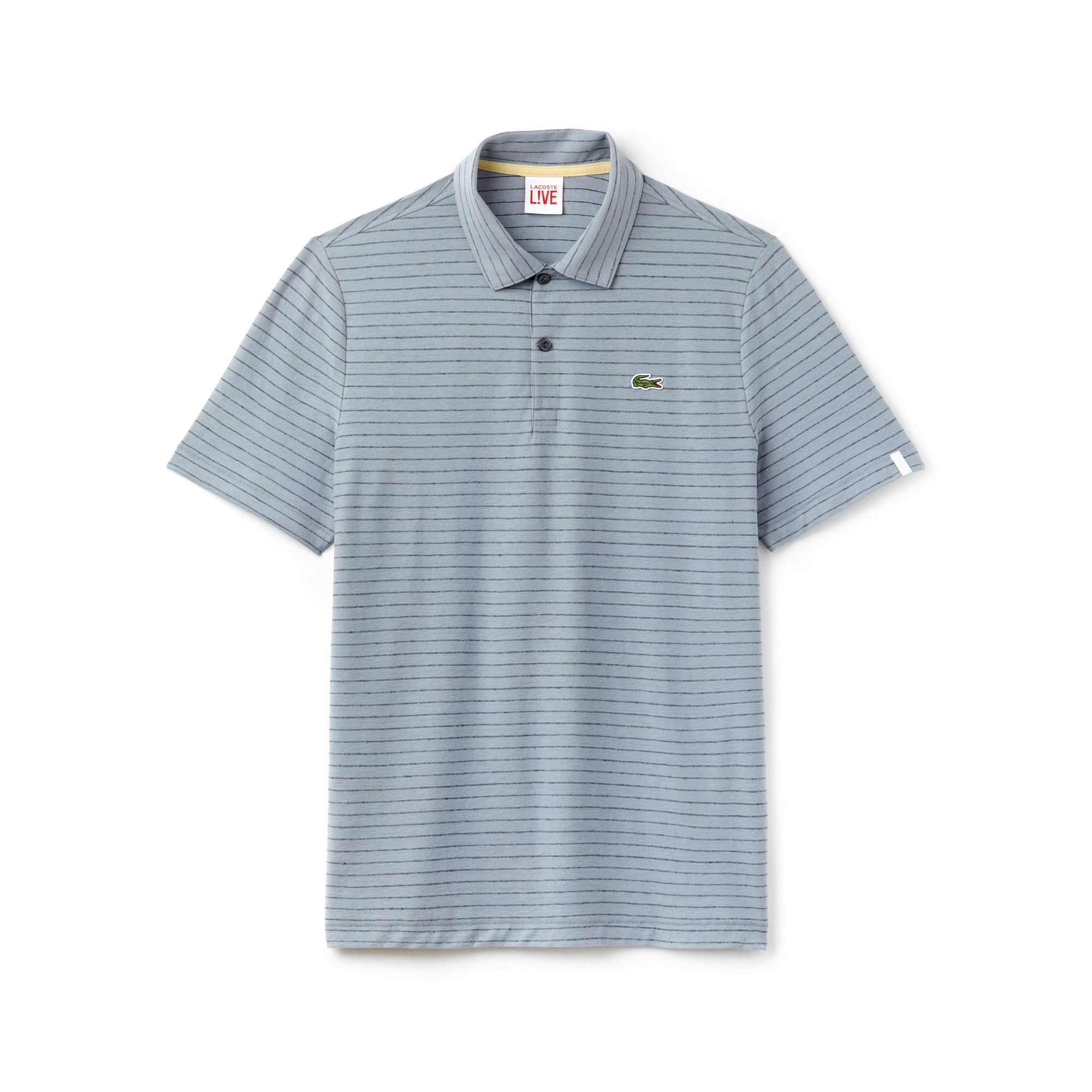 Men's Lacoste LIVE Slim Fit Striped Linen and Cotton Jersey Polo Shirt