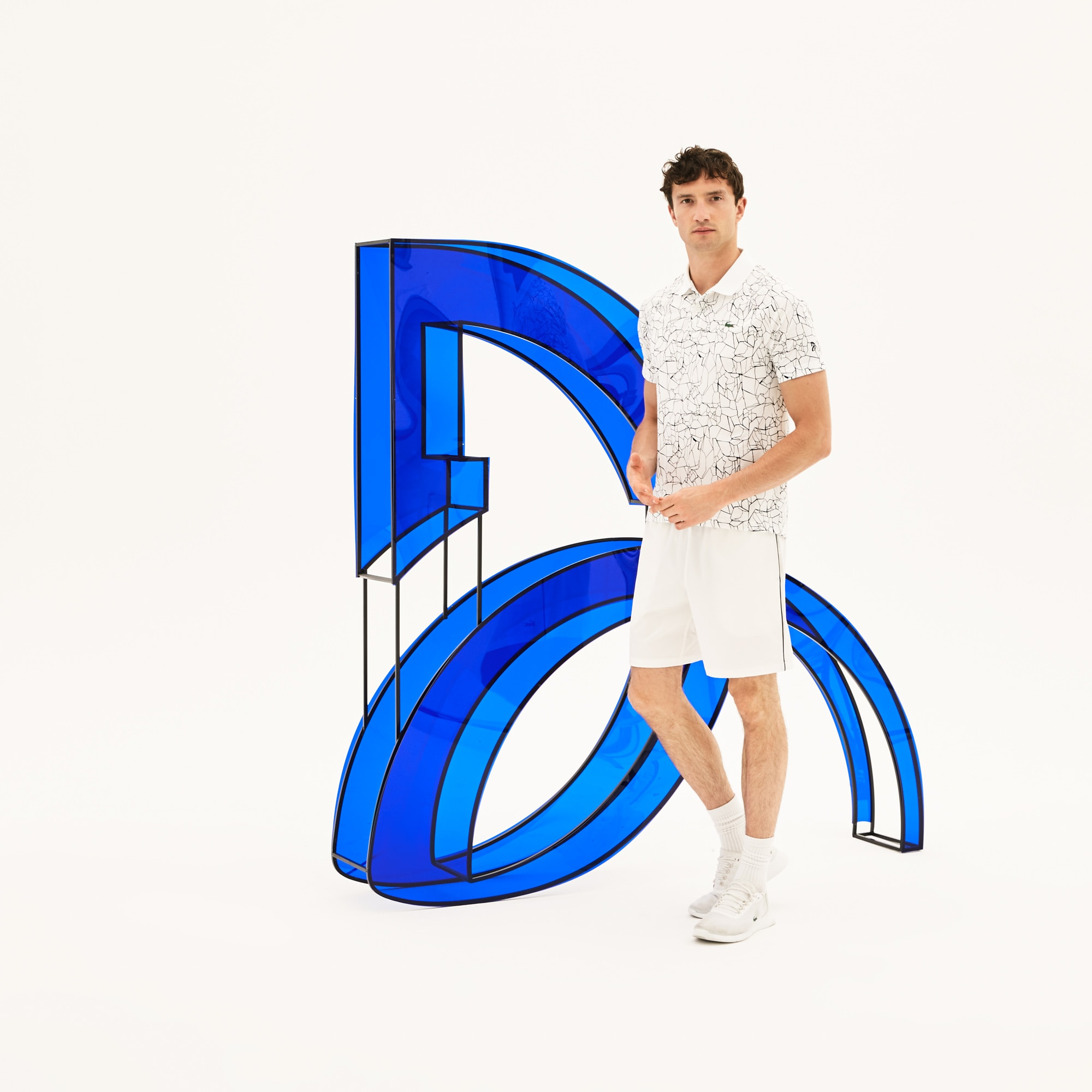 Men's Lacoste SPORT NOVAK DJOKOVIC-ON COURT COLLECTION Print Technical Jersey Polo Shirt