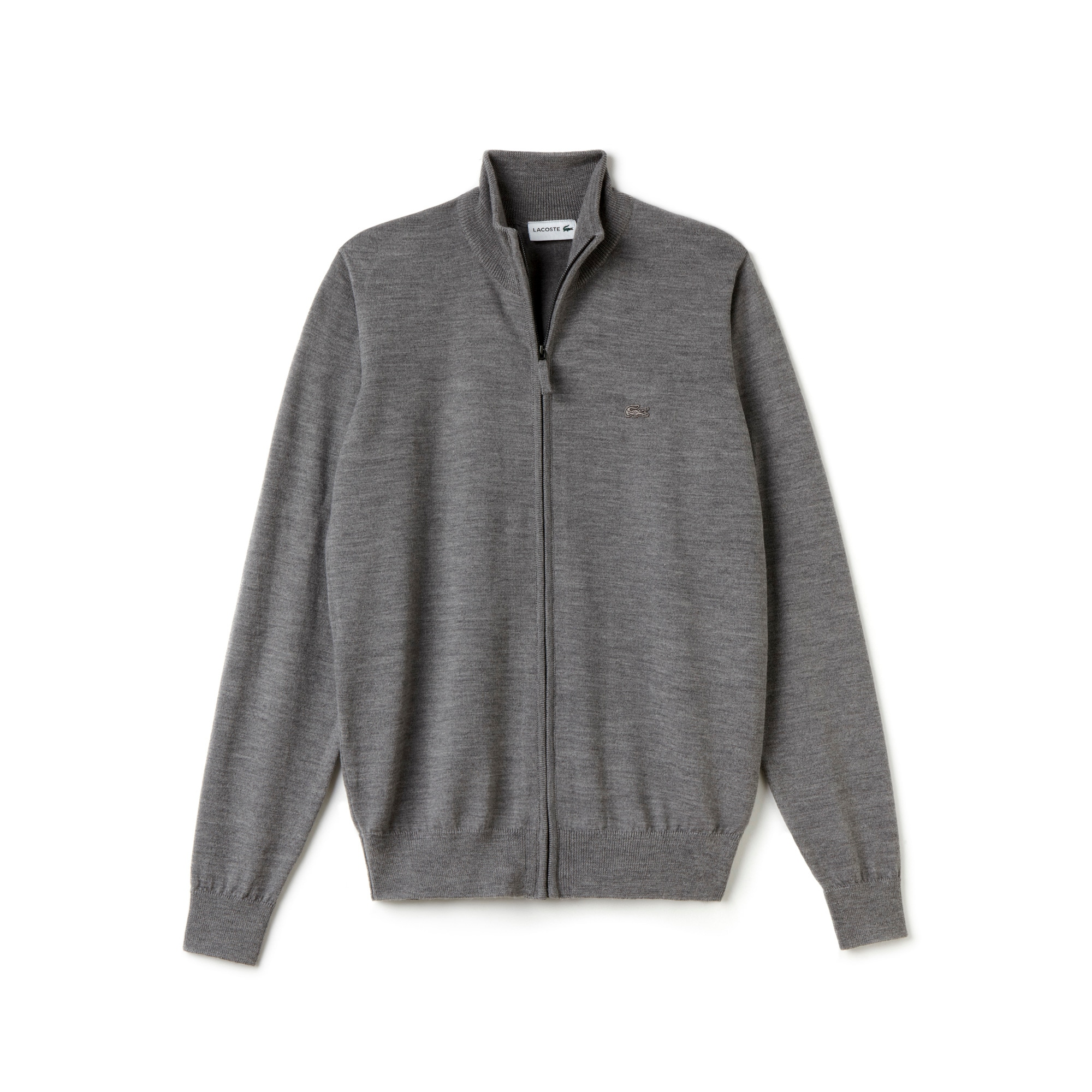 Men's Stand-Up Collar Wool Jersey Zippered Cardigan