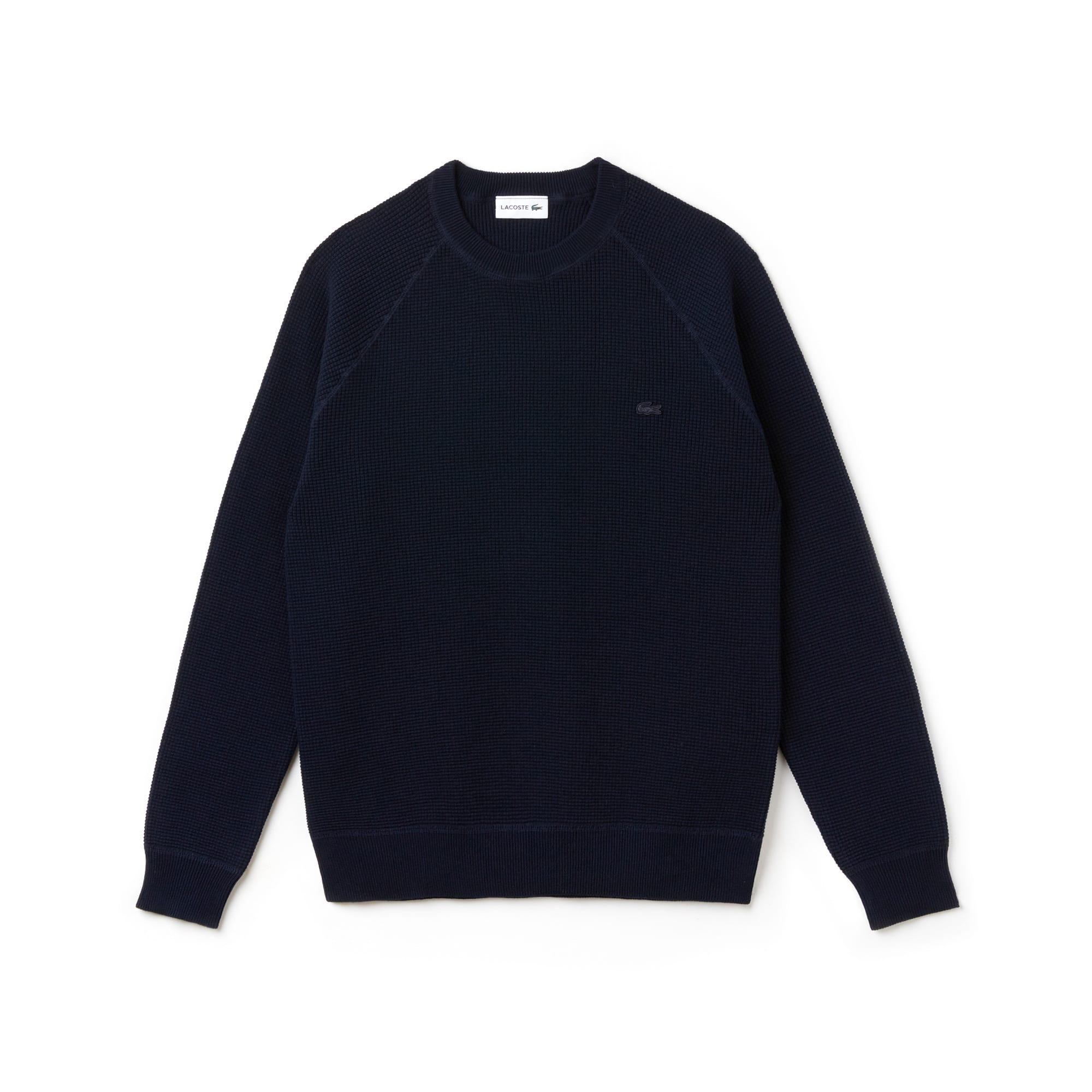 Men's Crew Neck Honeycomb Cotton Crepe Sweater