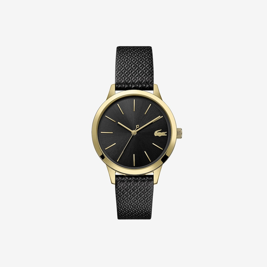 Ladies Lacoste 12.12 Premium Watch With Black Leather With Embossed Petit Piqué Pattern Strap