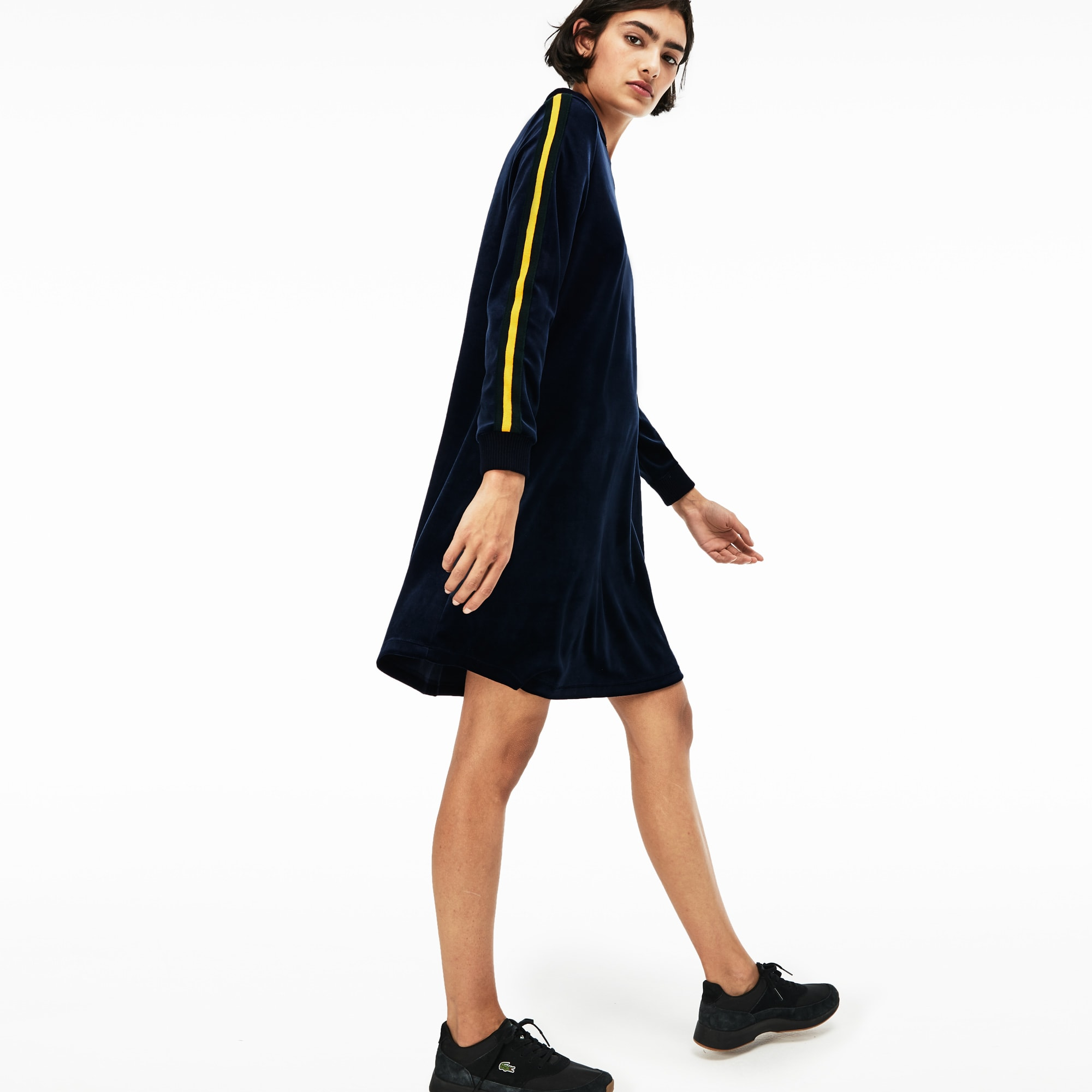 Women's Lacoste LIVE Piped Velour Flared Polo Dress