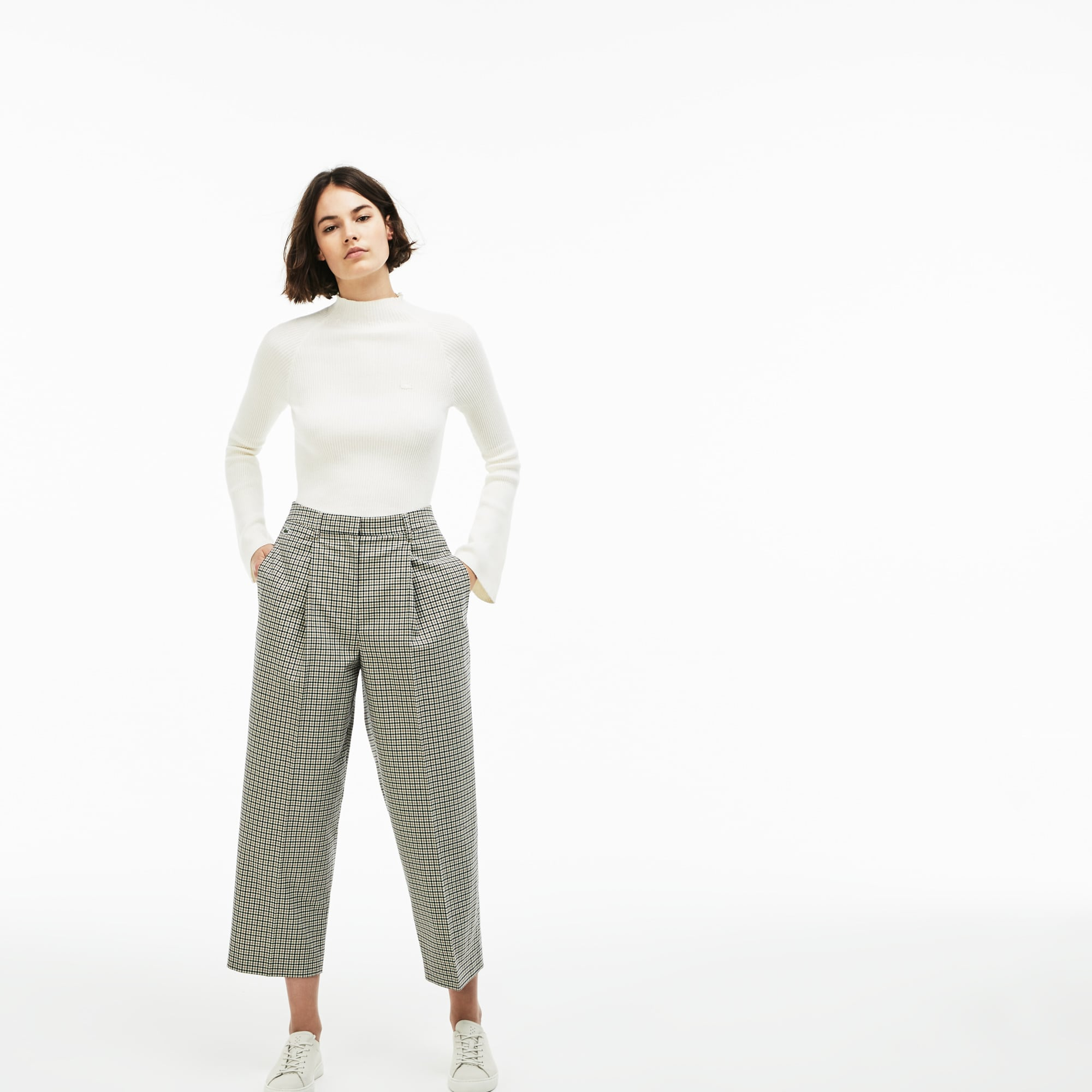 Women's Lacoste LIVE Pleated Stretch Check Twill Pants