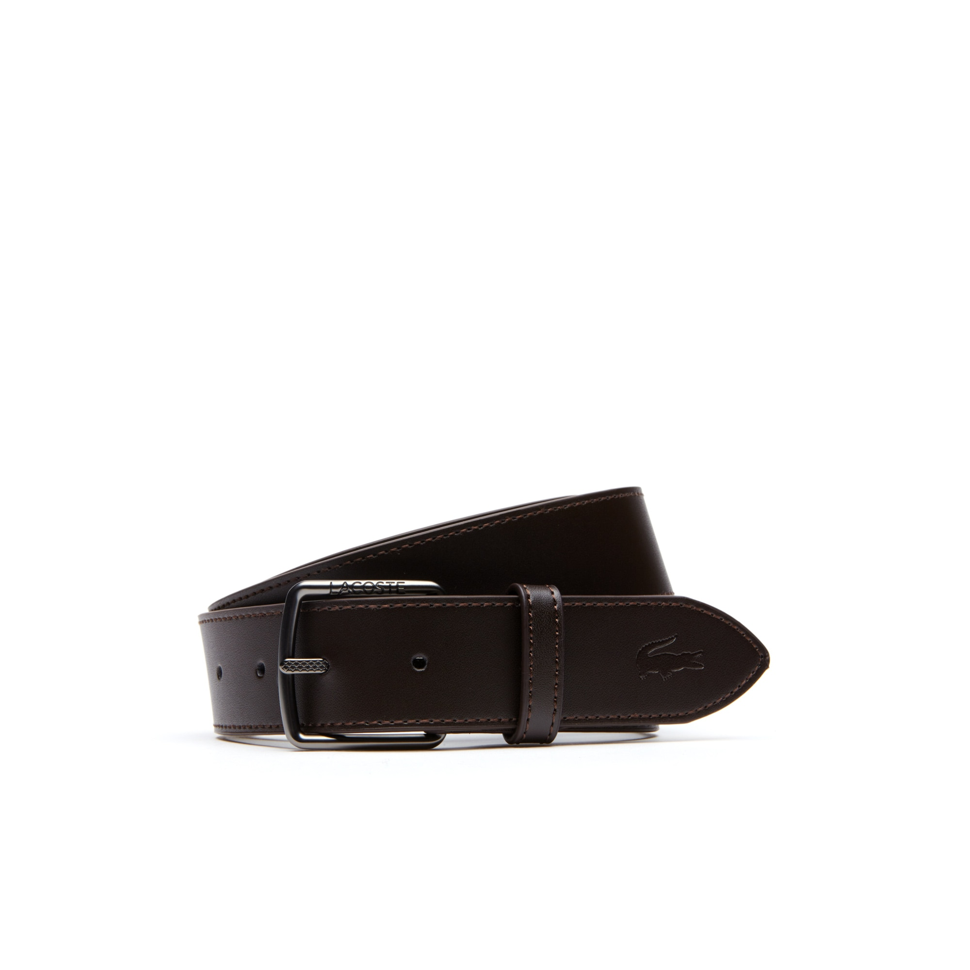 Men's Lacoste Engraved And Petit Piqué Tongue Buckle Leather Belt