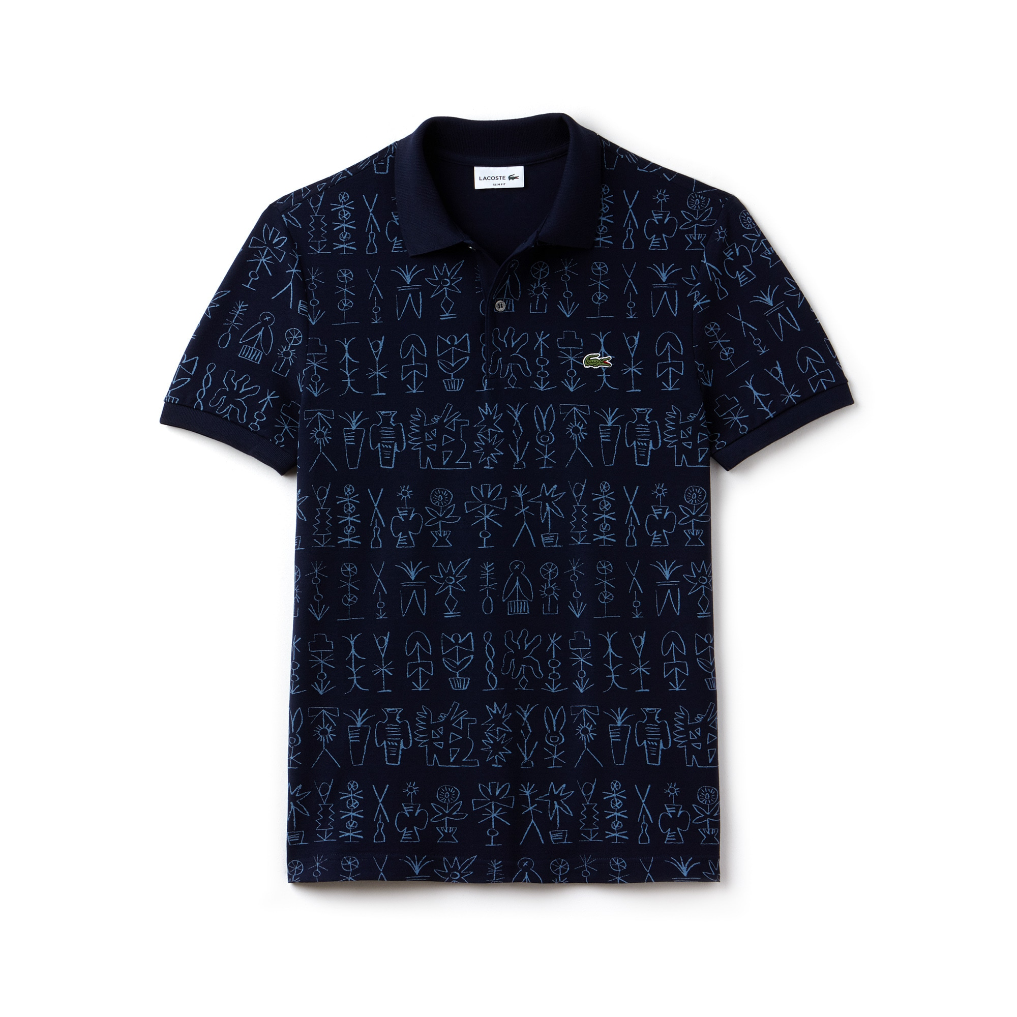 Men's Lacoste Slim Fit Egyptian Print Crepe Piqué Polo Shirt
