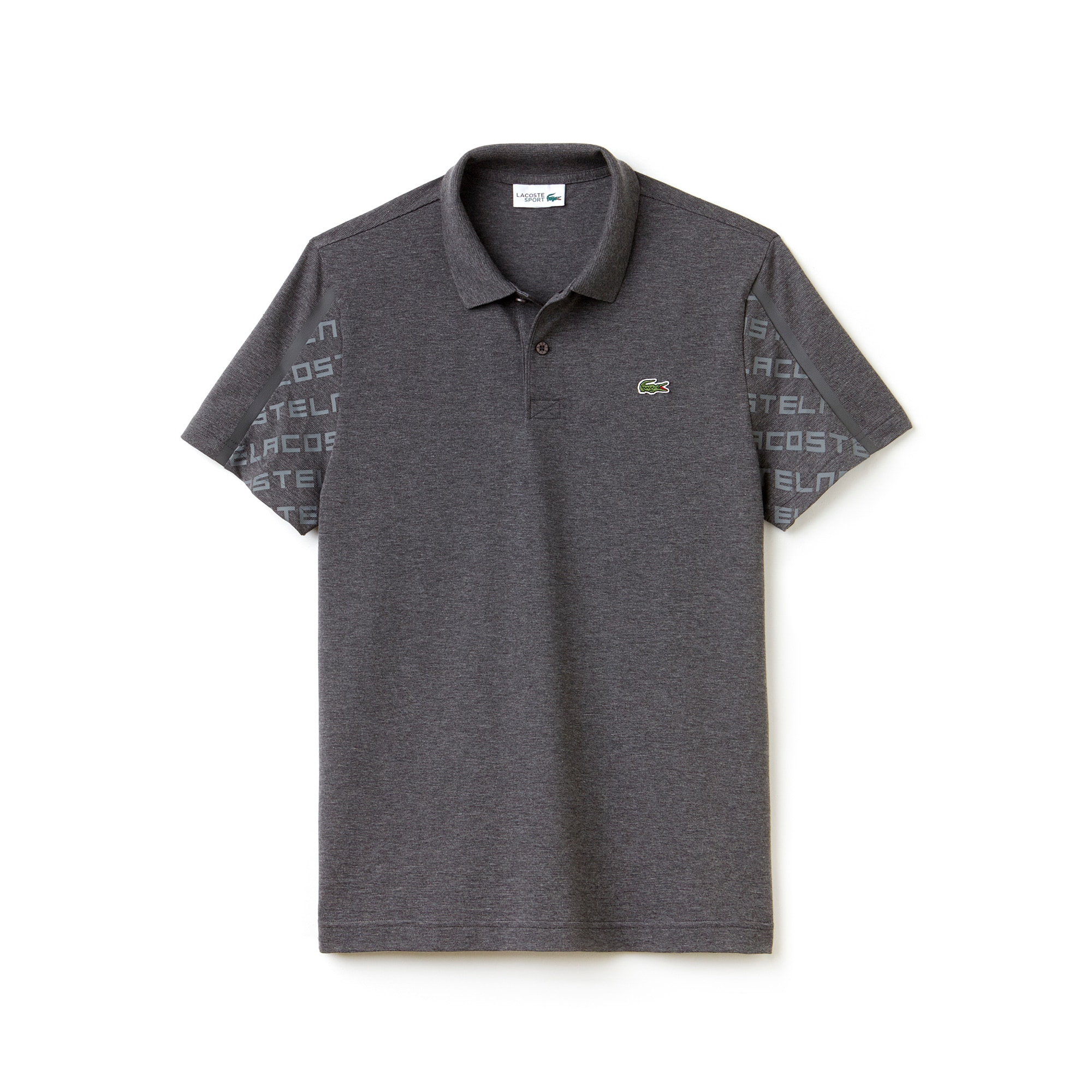 Men's Lacoste SPORT Tennis Print Sleeves Lightweight Knit Polo