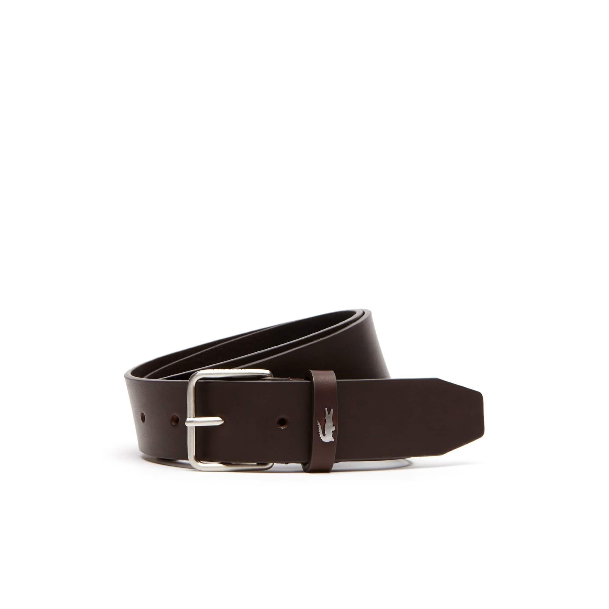 Men's Lacoste Engraved Tongue Buckle Leather Belt
