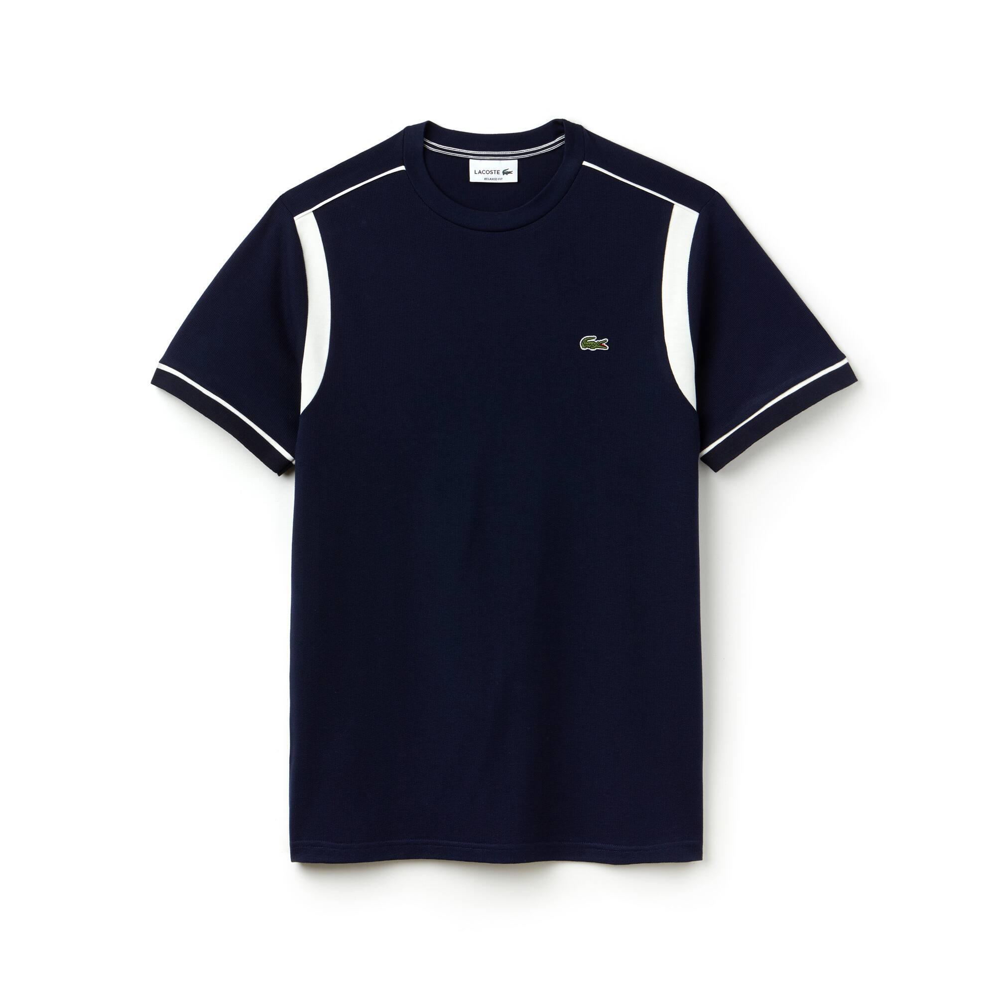 Men's Crew Neck Contrast Bands Cotton Square Knit T-shirt