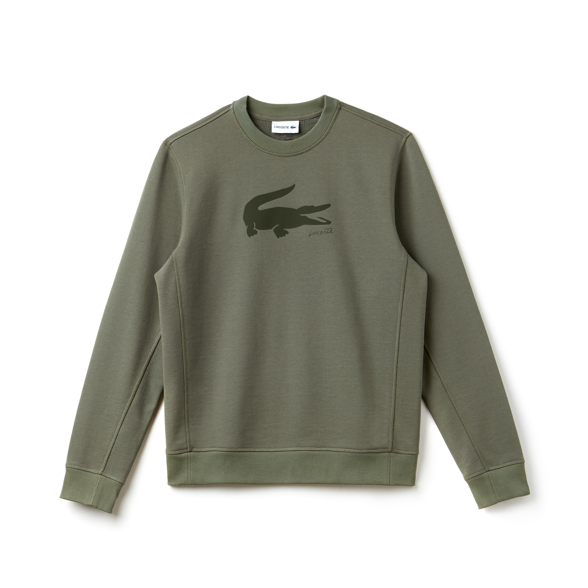 Men's Crew Neck Crocodile Print Fleece Sweatshirt