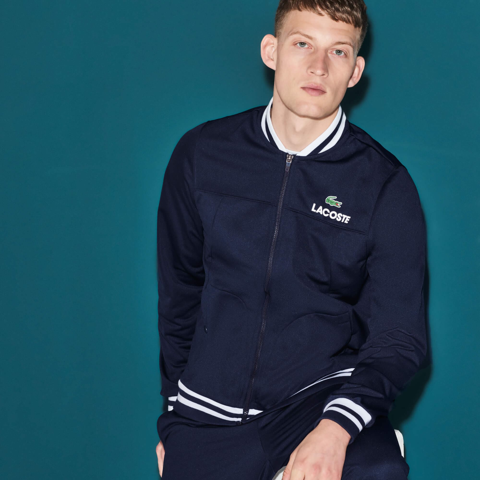 Men's Lacoste SPORT Technical Piqué Zip Tennis Jacket