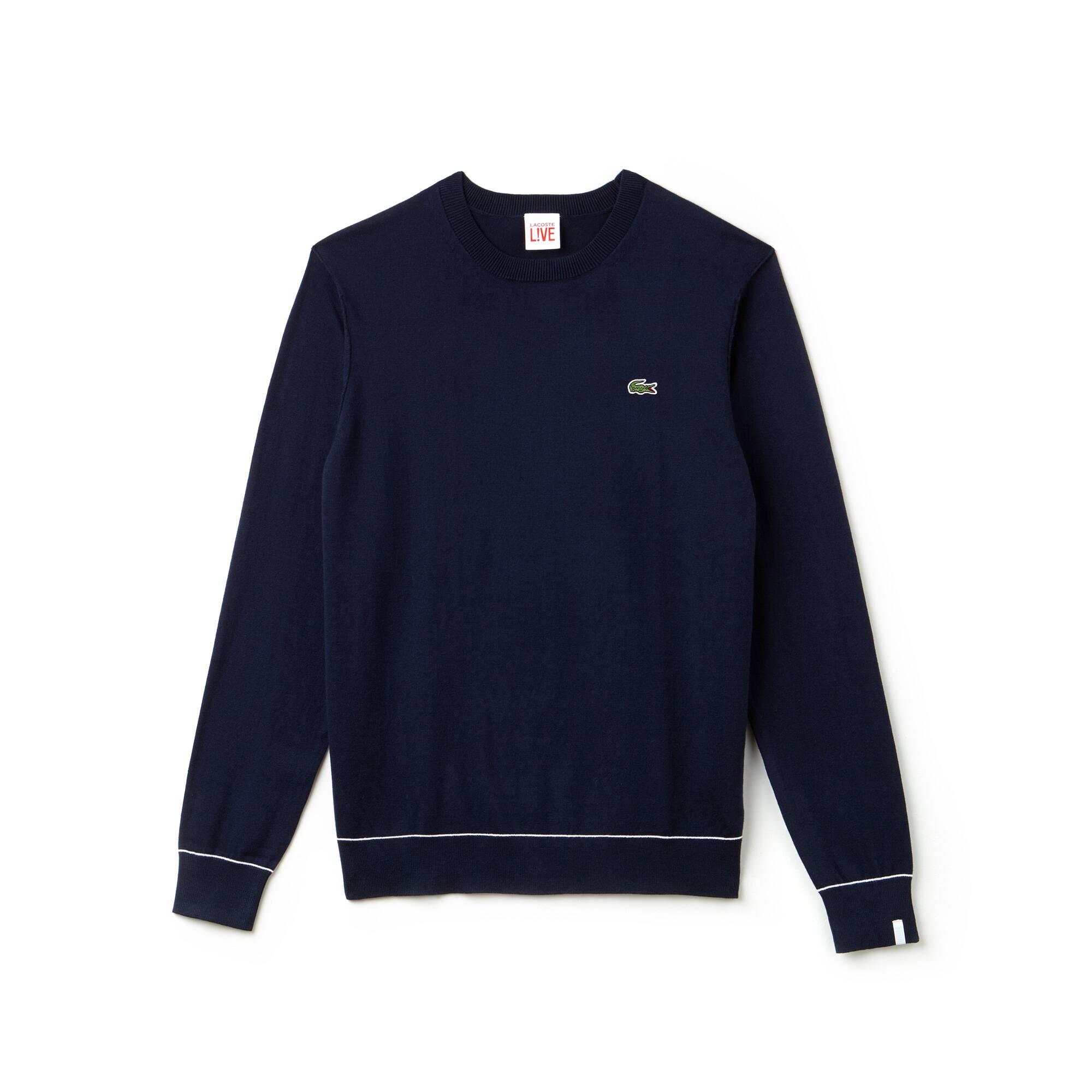 Men\u0027s Lacoste LIVE Crew Neck Cotton And Silk Jersey Sweater ...