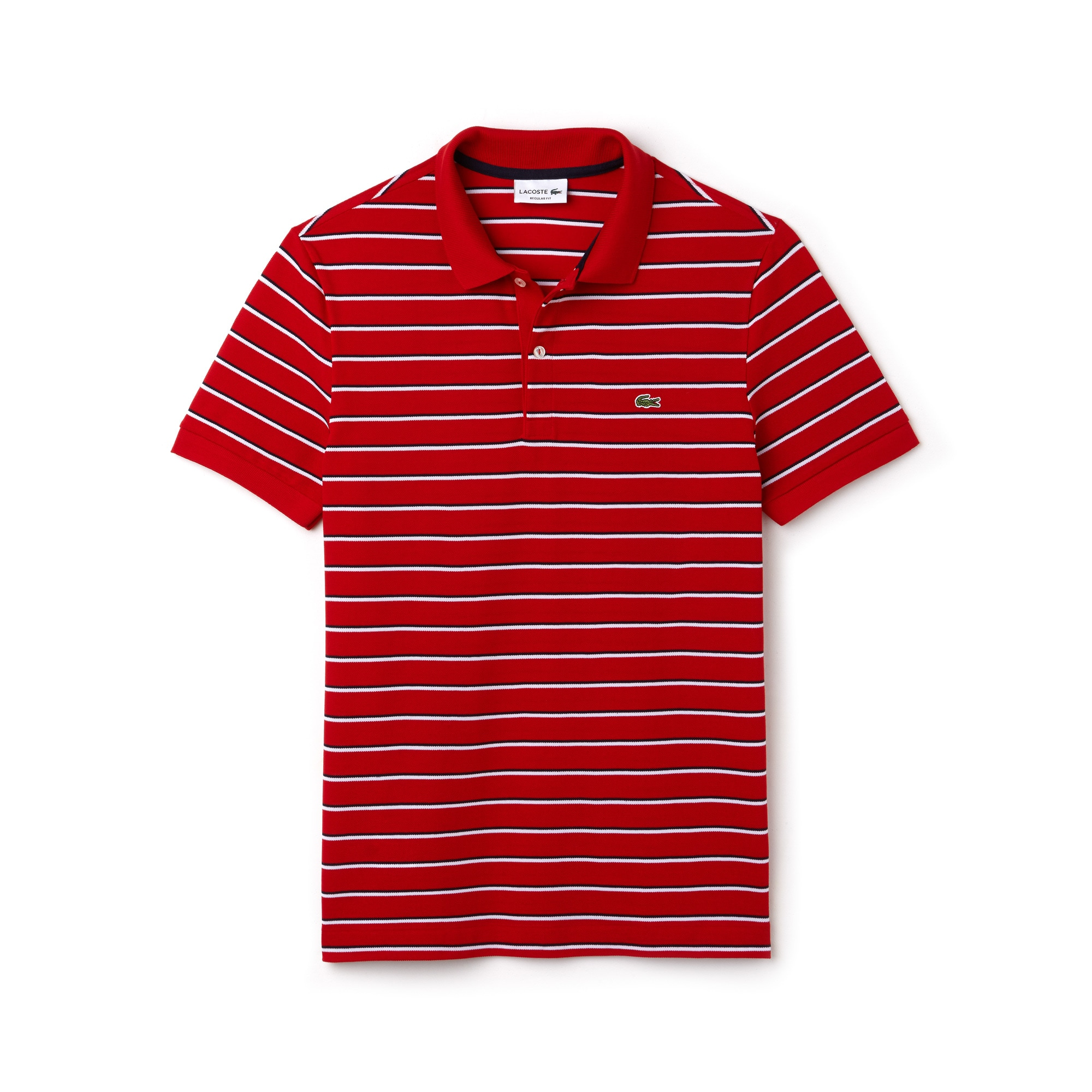 Men's Lacoste Regular Fit Striped Cotton Piqué Polo Shirt