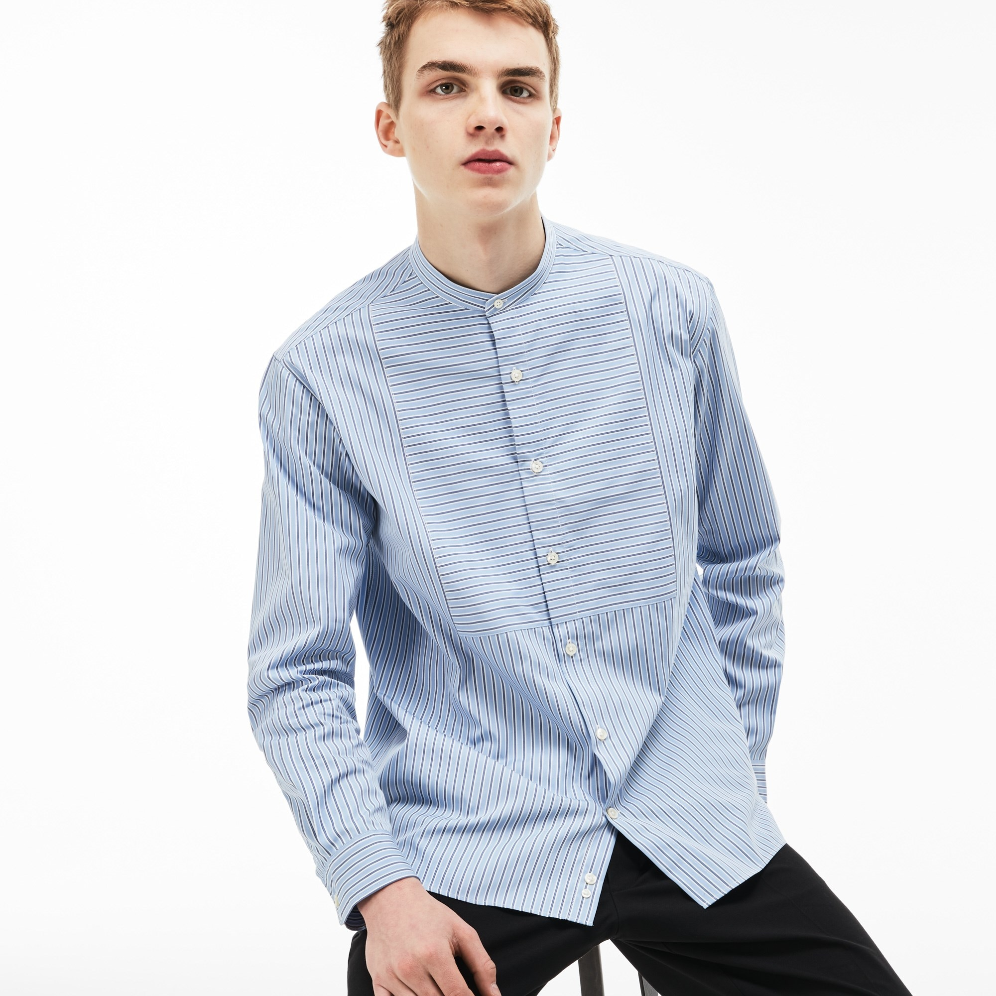 Men's Lacoste LIVE Boxy Fit Striped Poplin Shirt