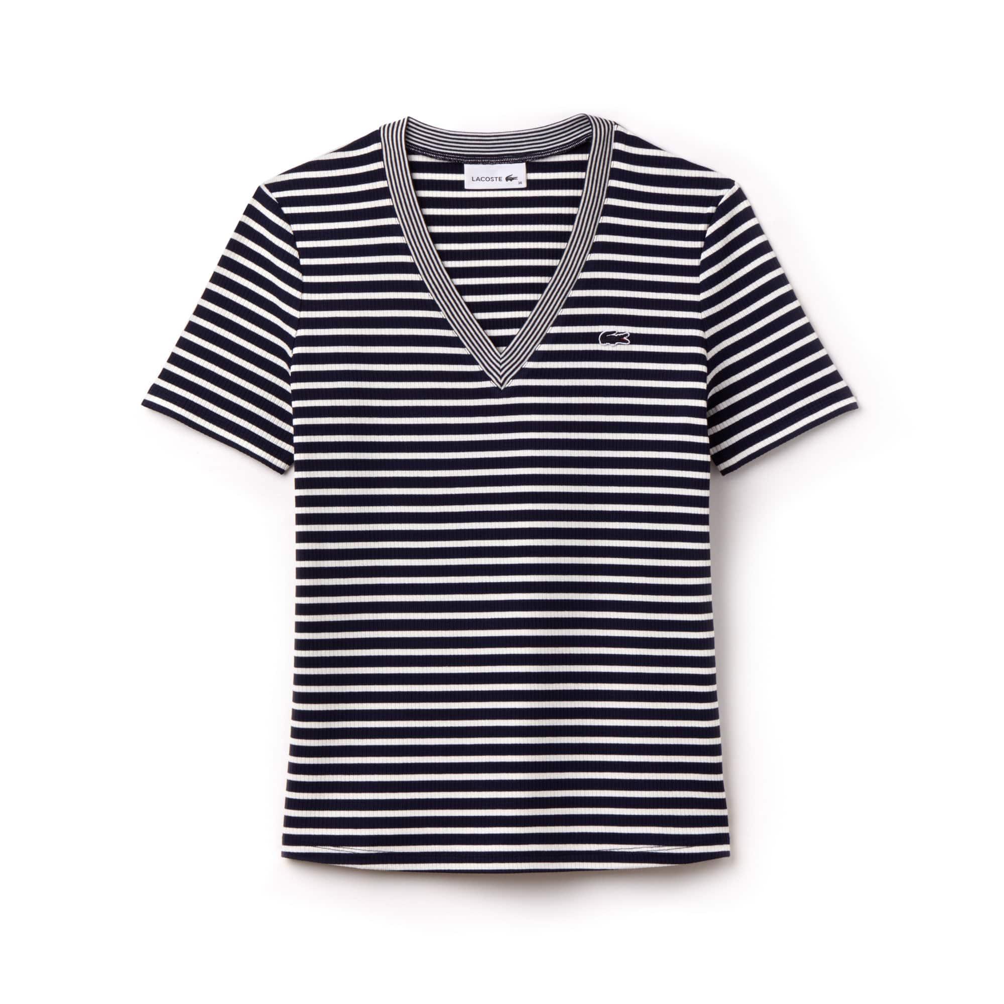 Women's V-neck Striped Stretch Cotton T-shirt