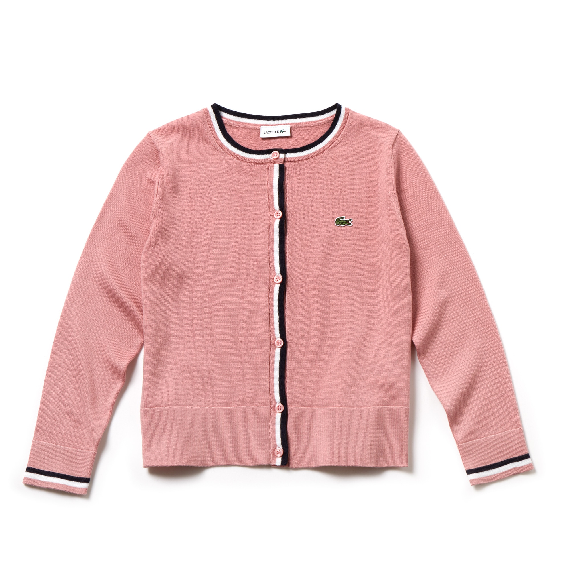 Girls' Contrast Finishes Cotton Jersey Cardigan