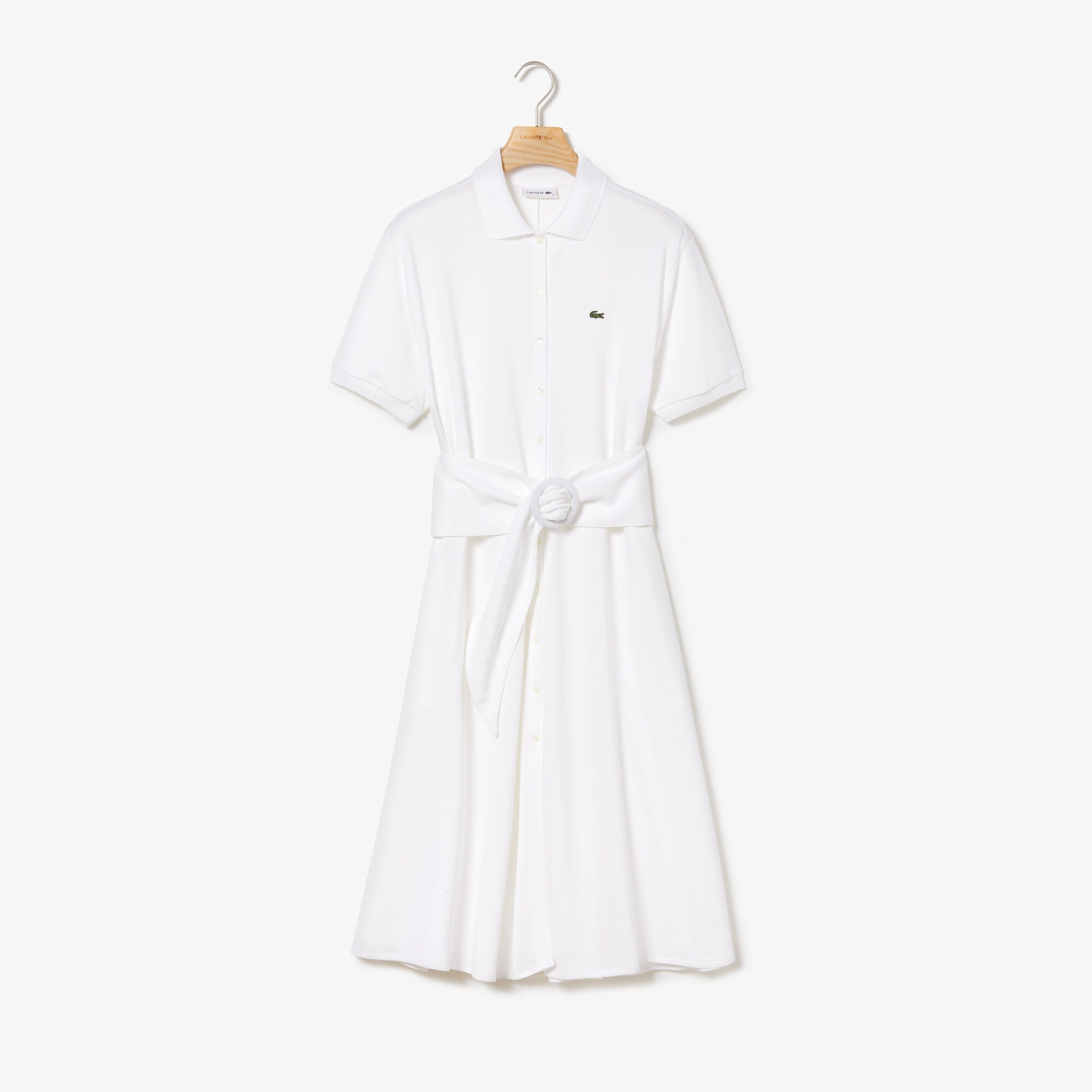 Women's Buttoned & Belted Soft Cotton Polo Shirt Dress
