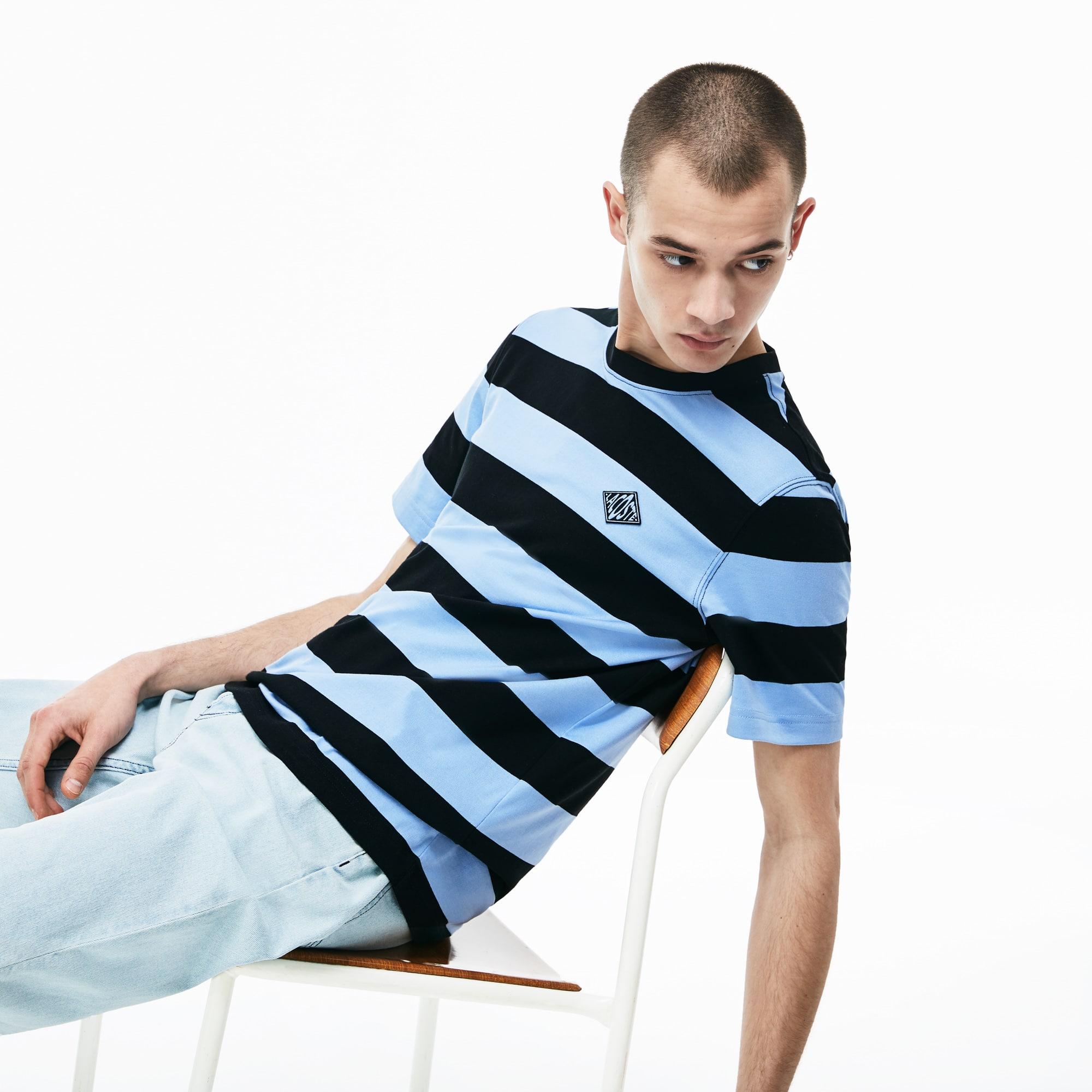 c9e815a557 Men's Lacoste LIVE Crew Neck Diamond Badge Striped Cotton T-shirt