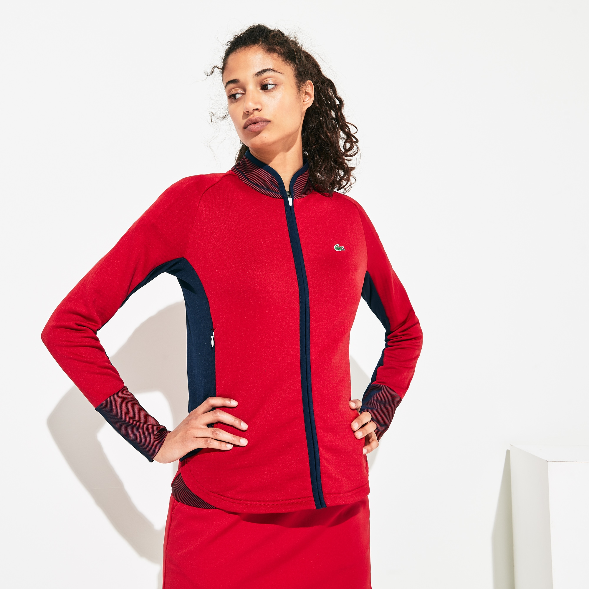 Women's Lacoste SPORT Breathable Stretch Bi-material Zip Golf Jacket