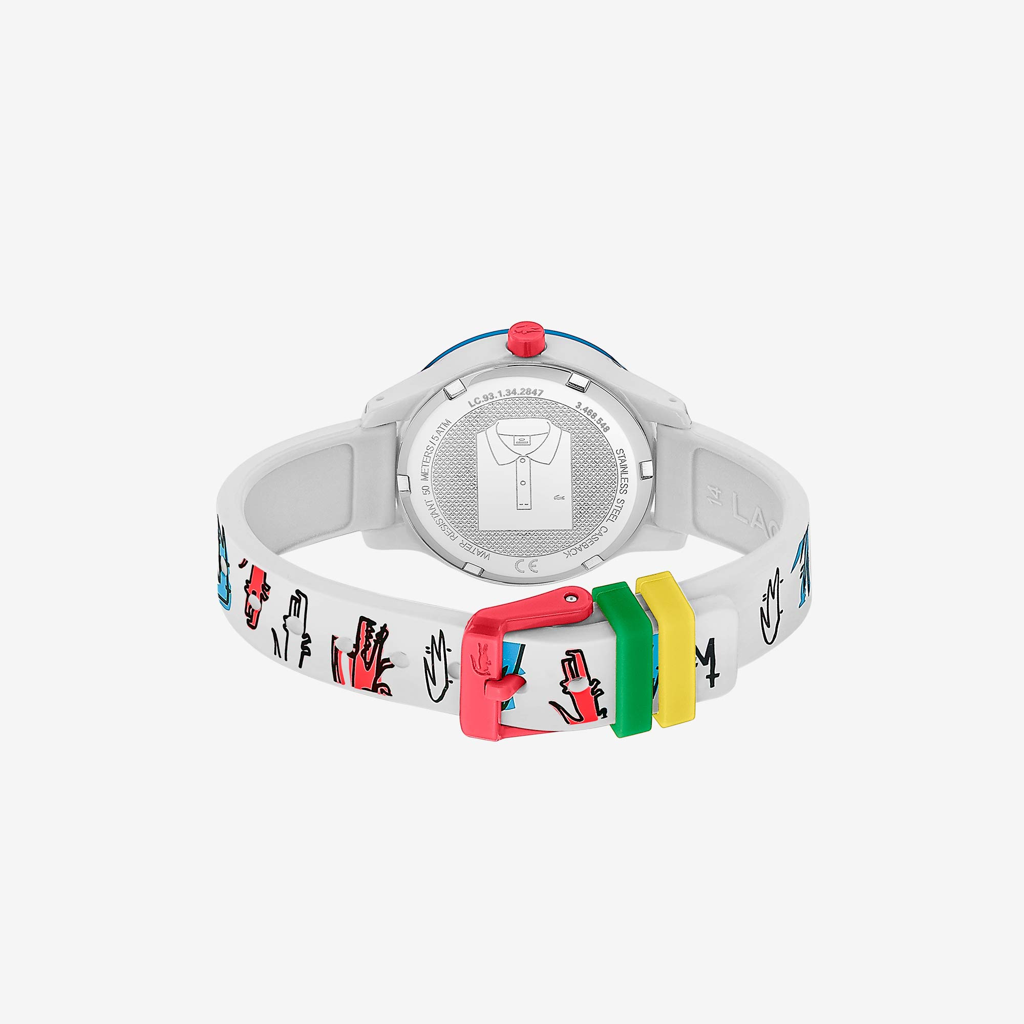 15acfb9ac6886 Kids Lacoste 12.12 Watch with White Printed Silicone Strap