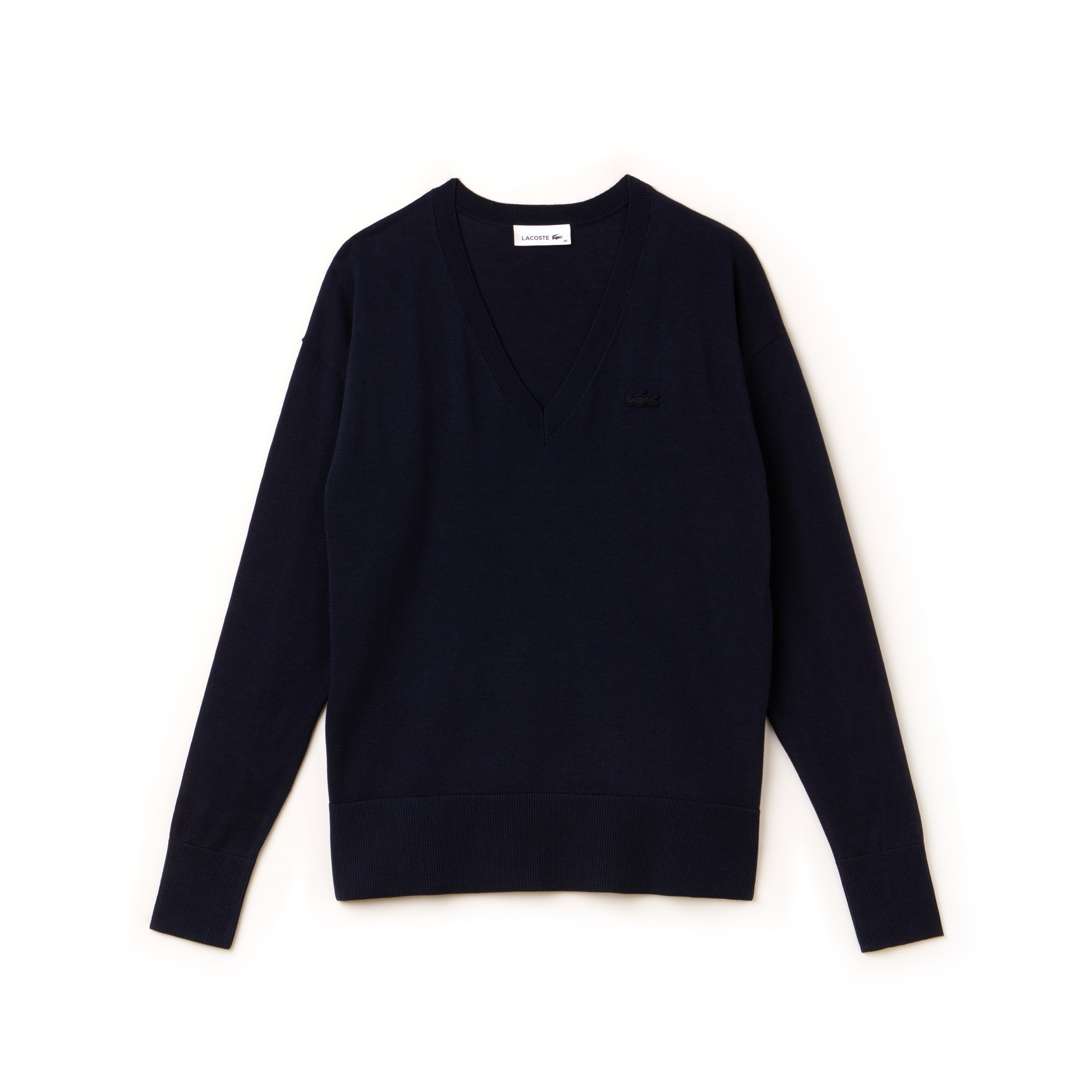 Women's V-neck Cotton Jersey Sweater