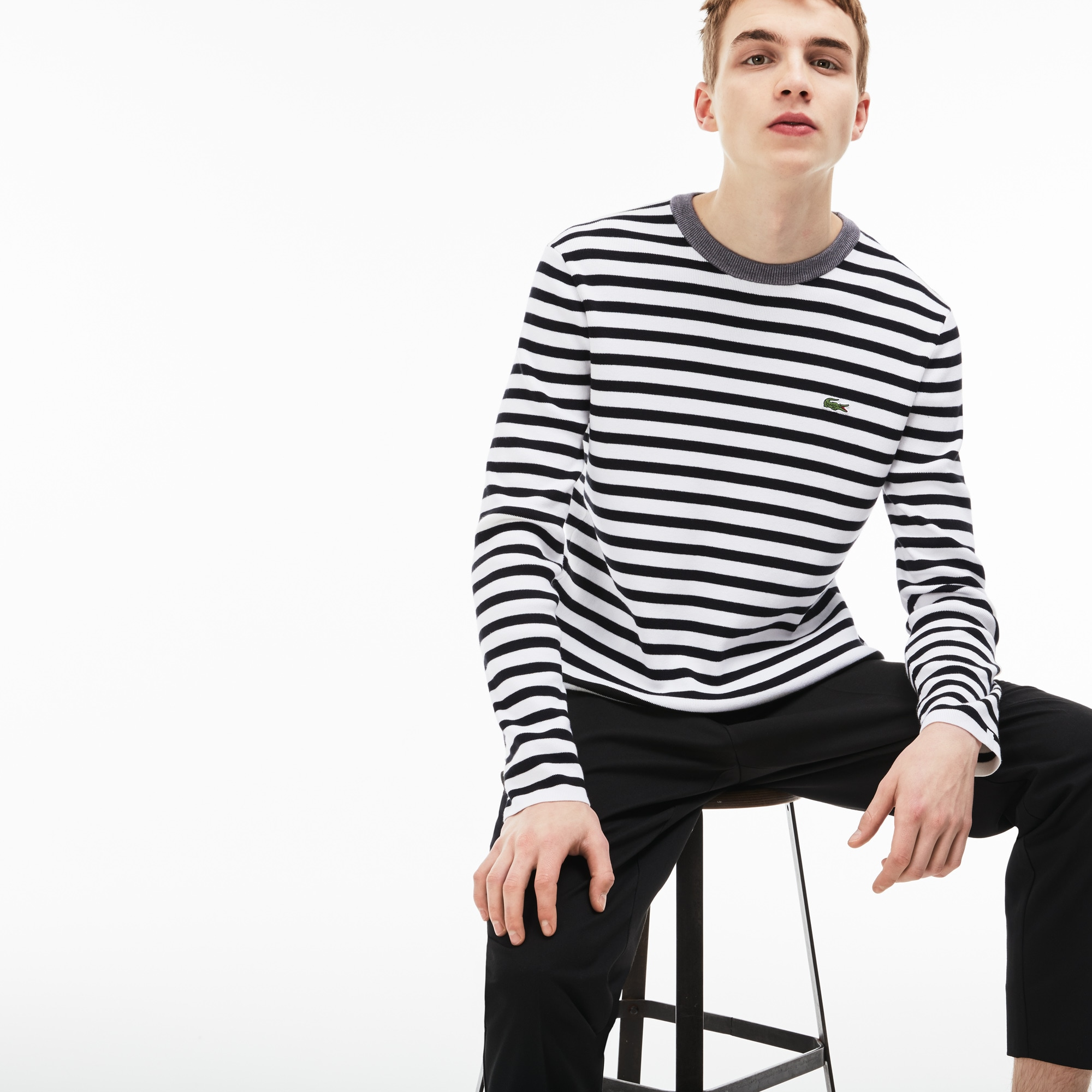 Men's Lacoste LIVE Crew Neck Striped Cotton Jersey Sweater